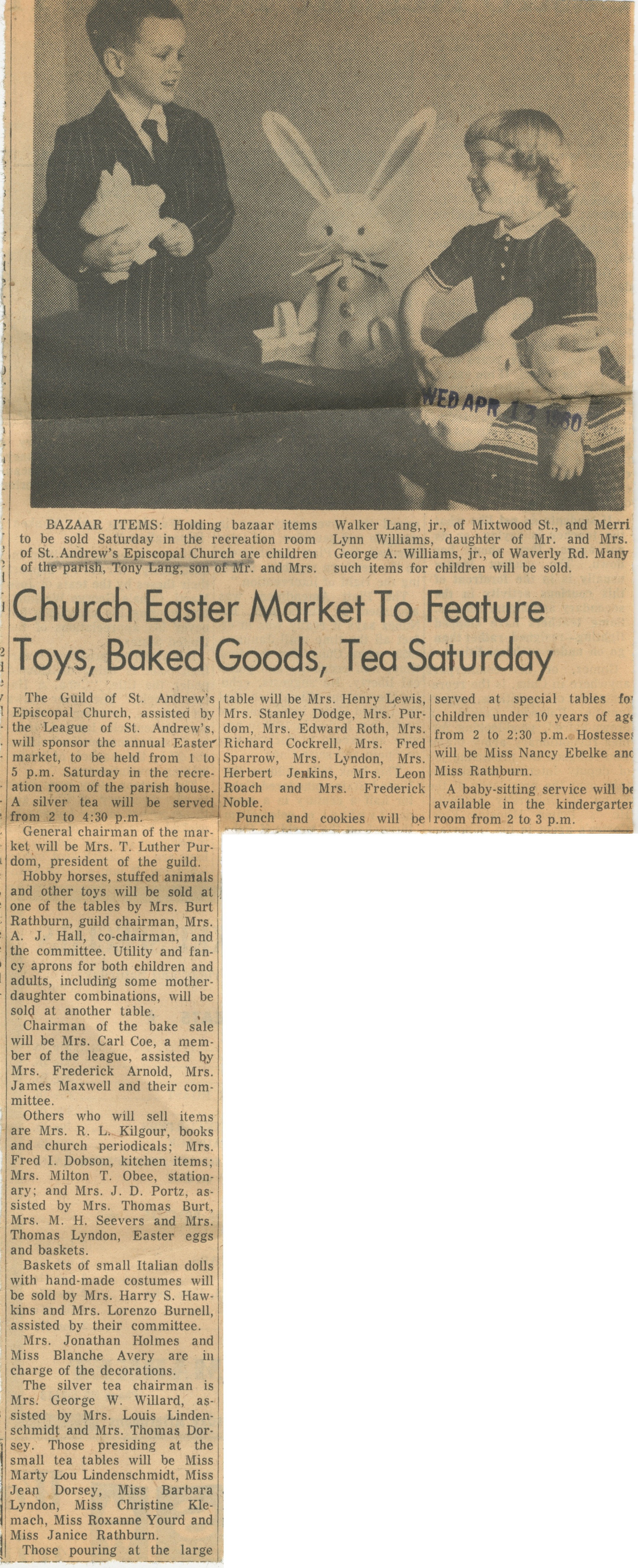 Church Easter Market To Feature Toys, Baked Goods, Tea Saturday image