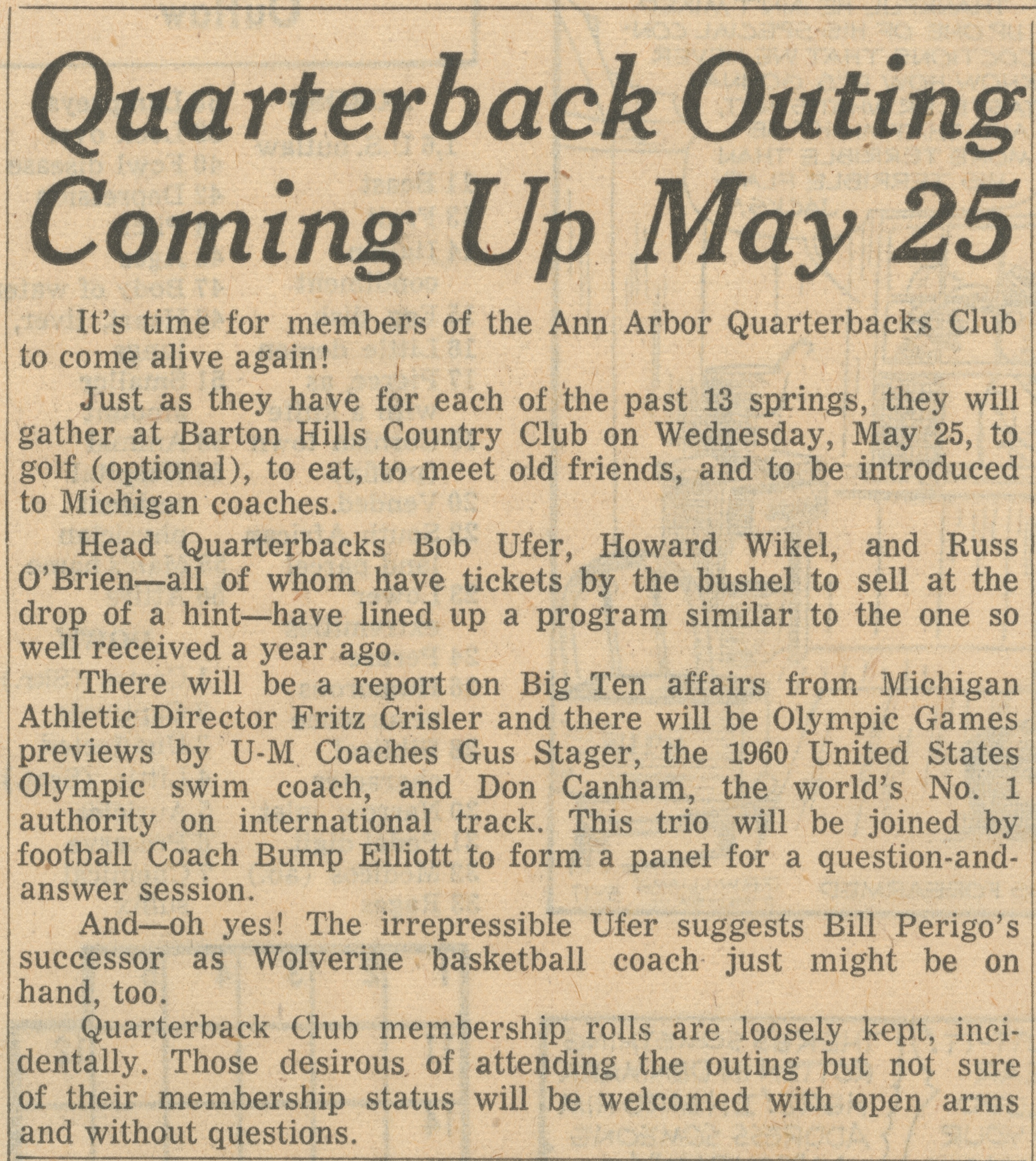 Quarterback Outing Coming Up May 25 image