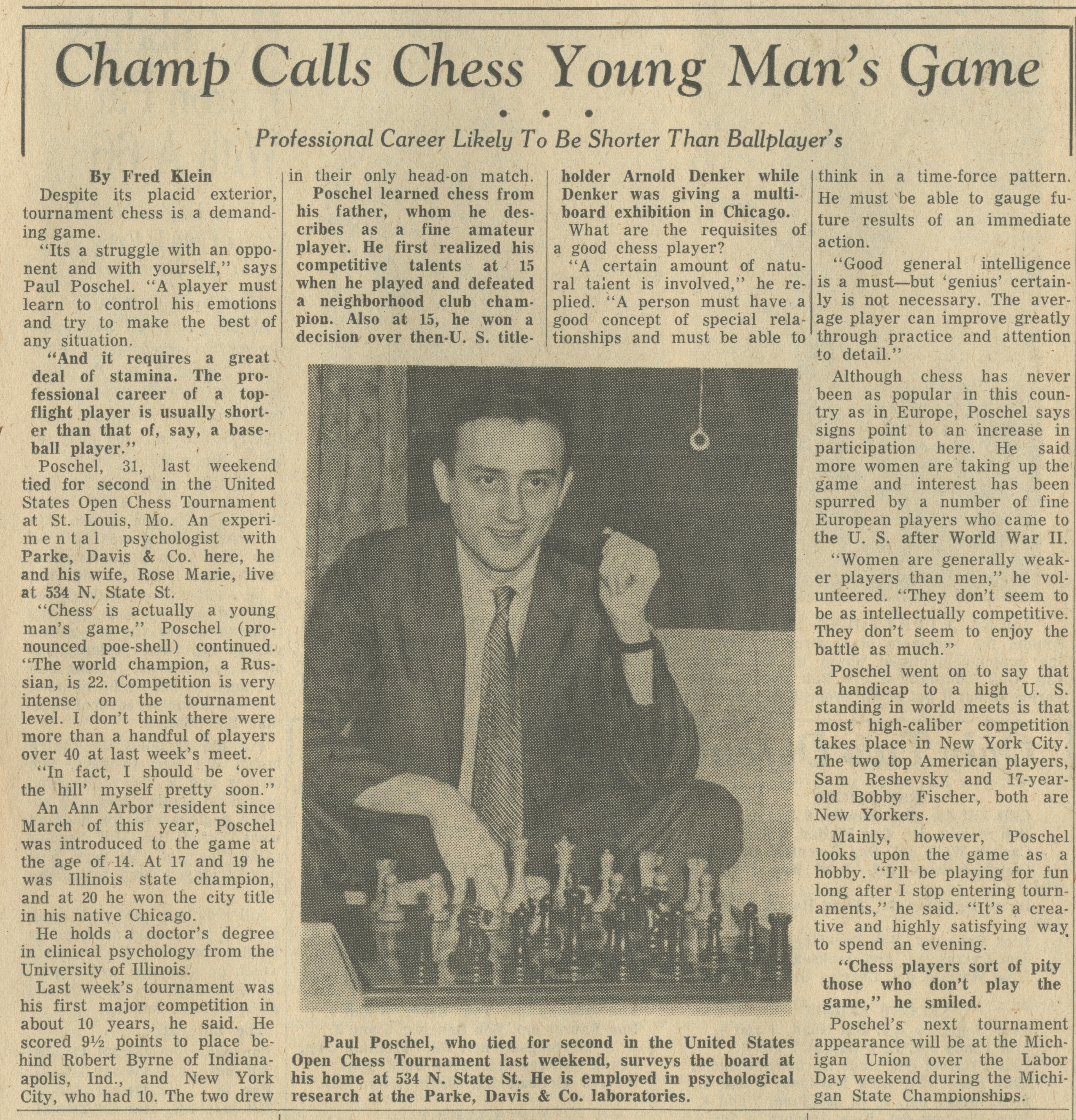 Champ Calls Chess Young Man's Game image