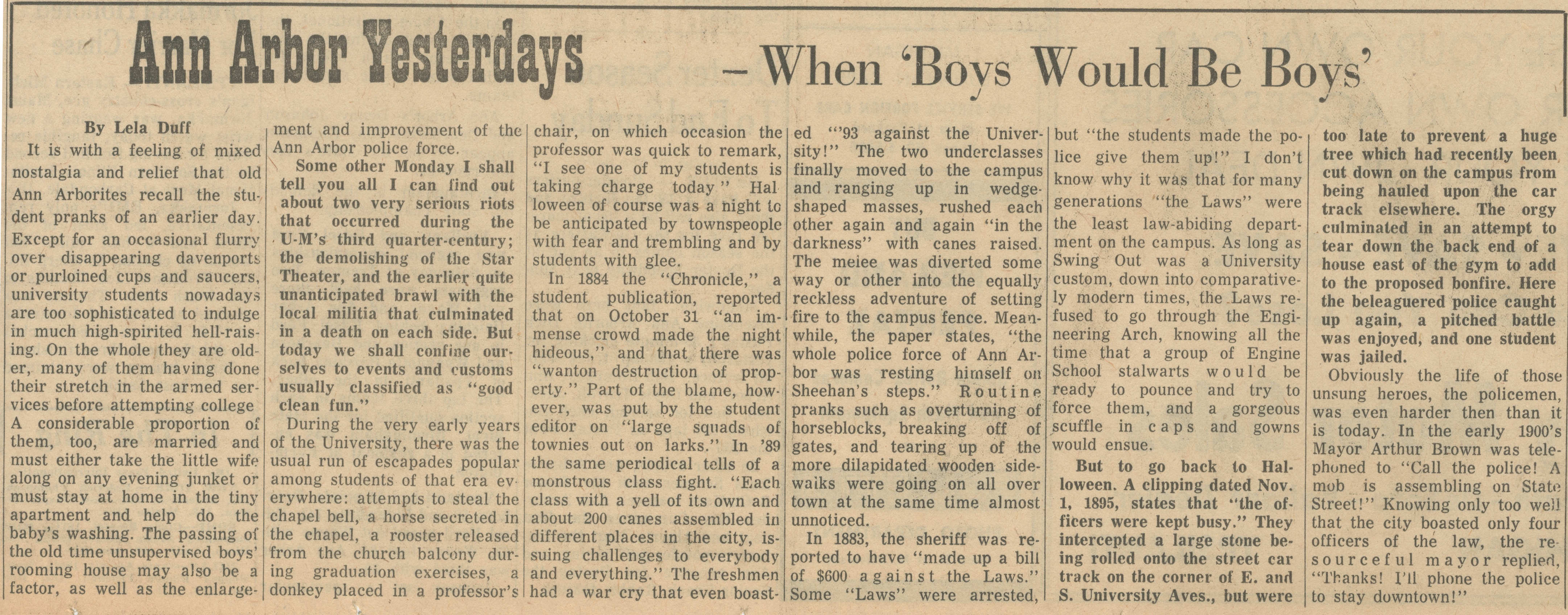 Ann Arbor Yesterdays ~ When 'Boys Would Be Boys' image