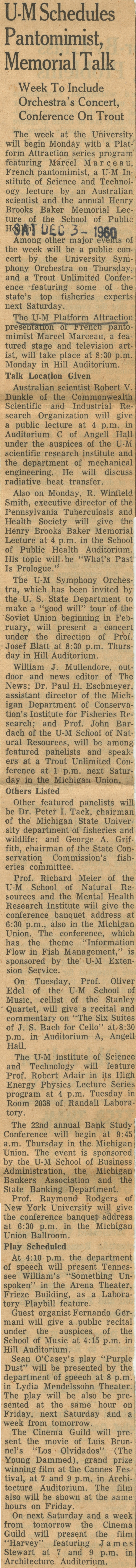 U-M Schedules Pantomimist, Memorial Talk: Week To Include Orchestra's Concert, Conference On Trout image