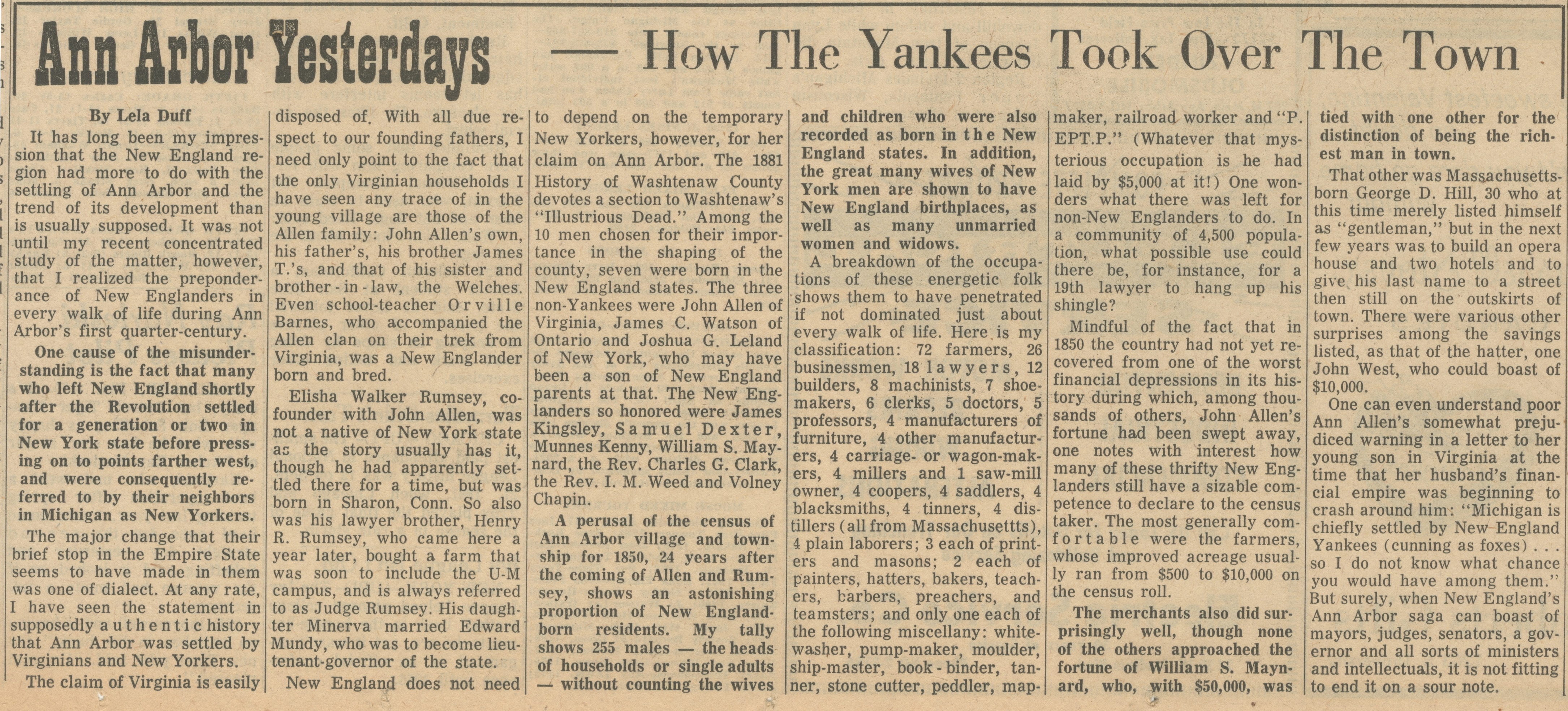 Ann Arbor Yesterdays ~ How The Yankees Took Over The Town image