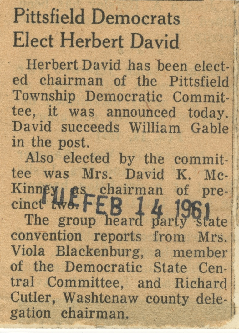 Pittsfield Democrats Elect Herbert David image