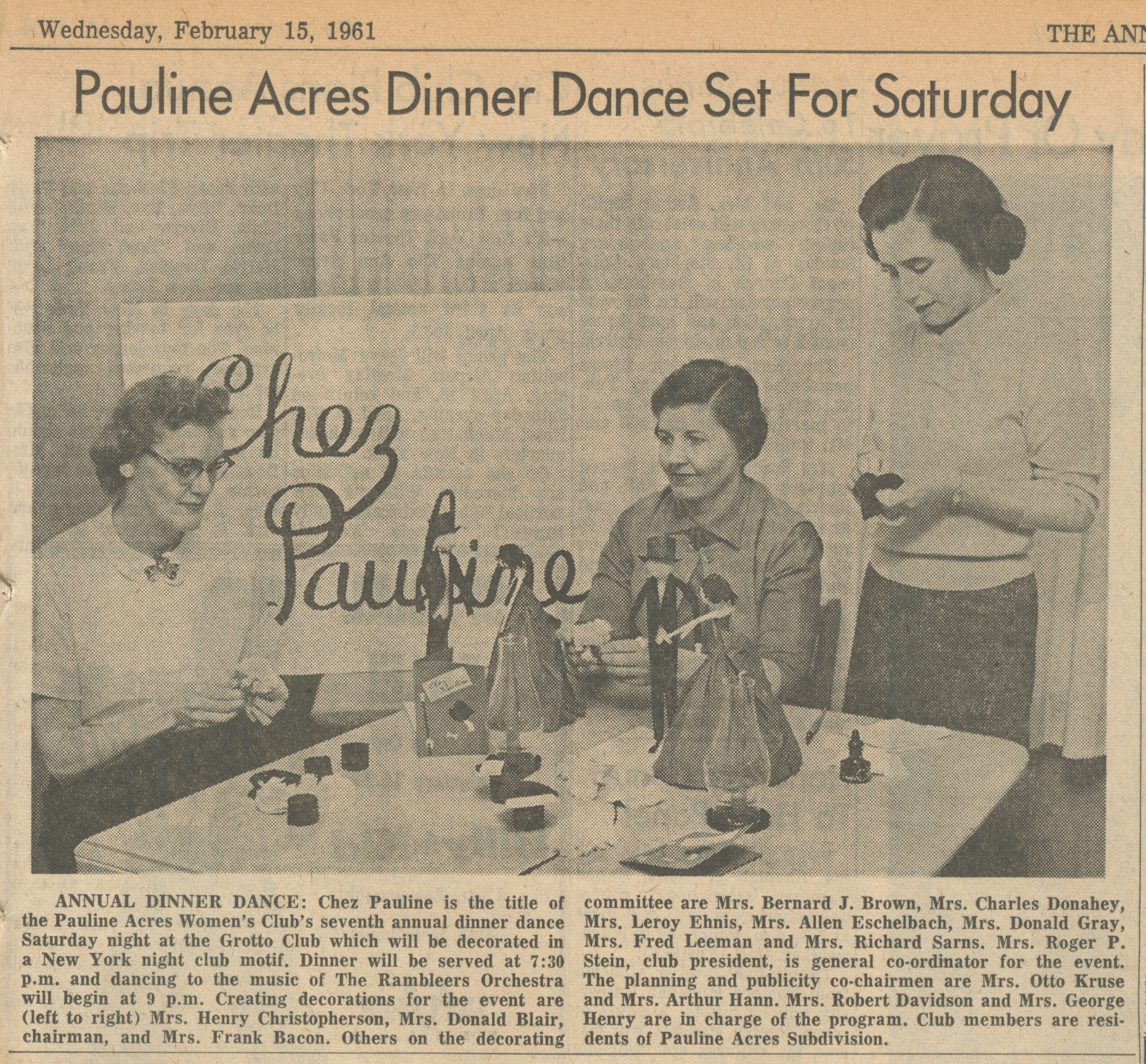 Pauline Acres Dinner Dance Set For Saturday image