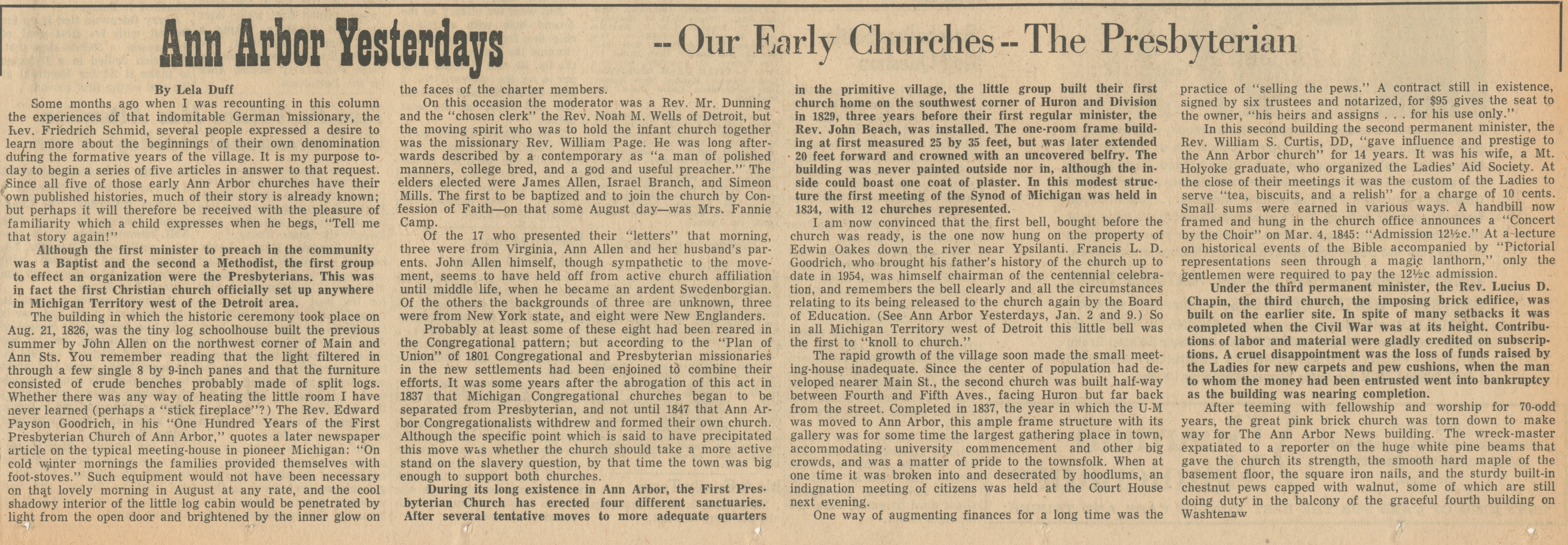 Ann Arbor Yesterdays ~ Our Early Churches -- The Presbyterian image