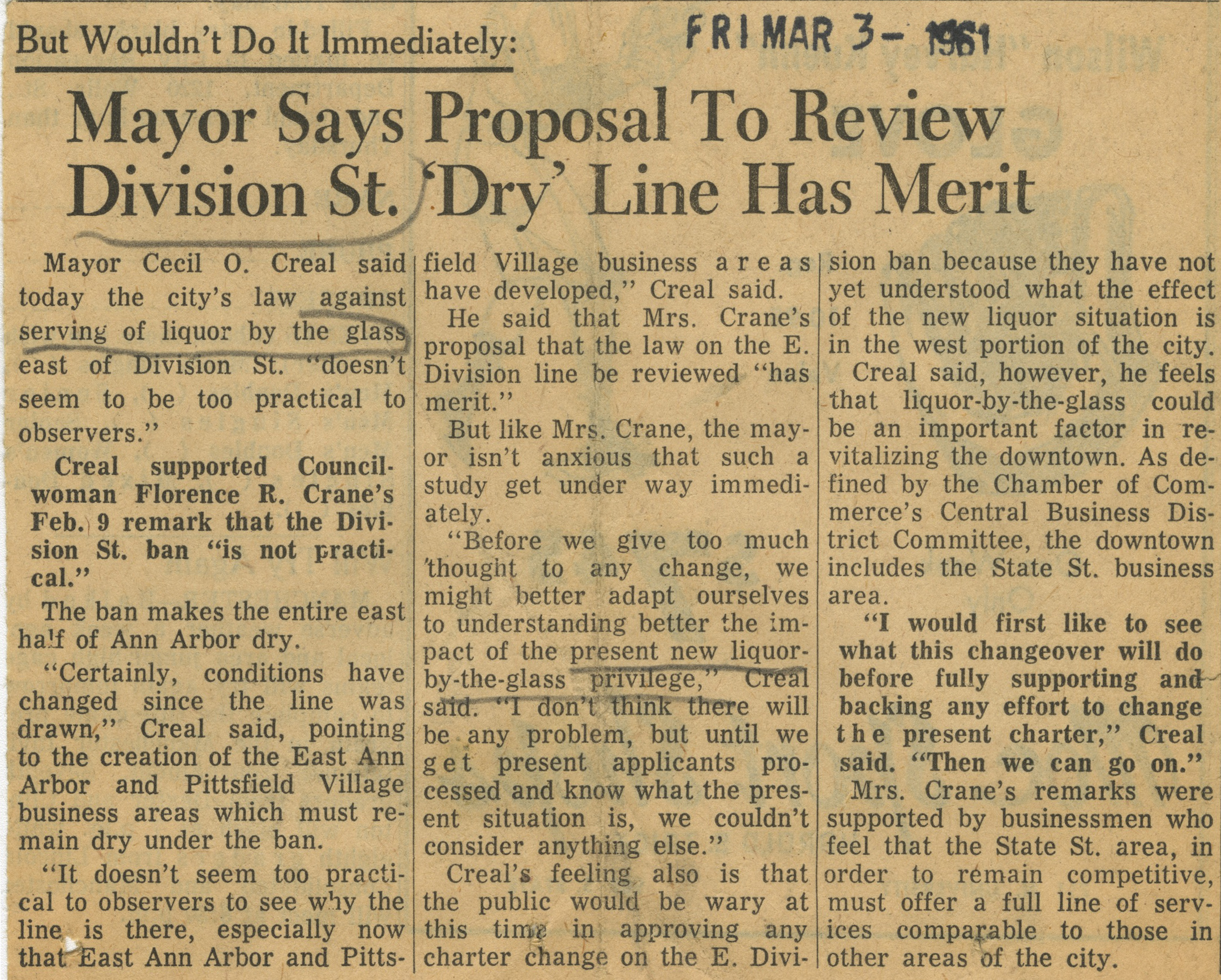 Mayor Says Proposal To Review Division St. 'Dry' Line Has Merit image