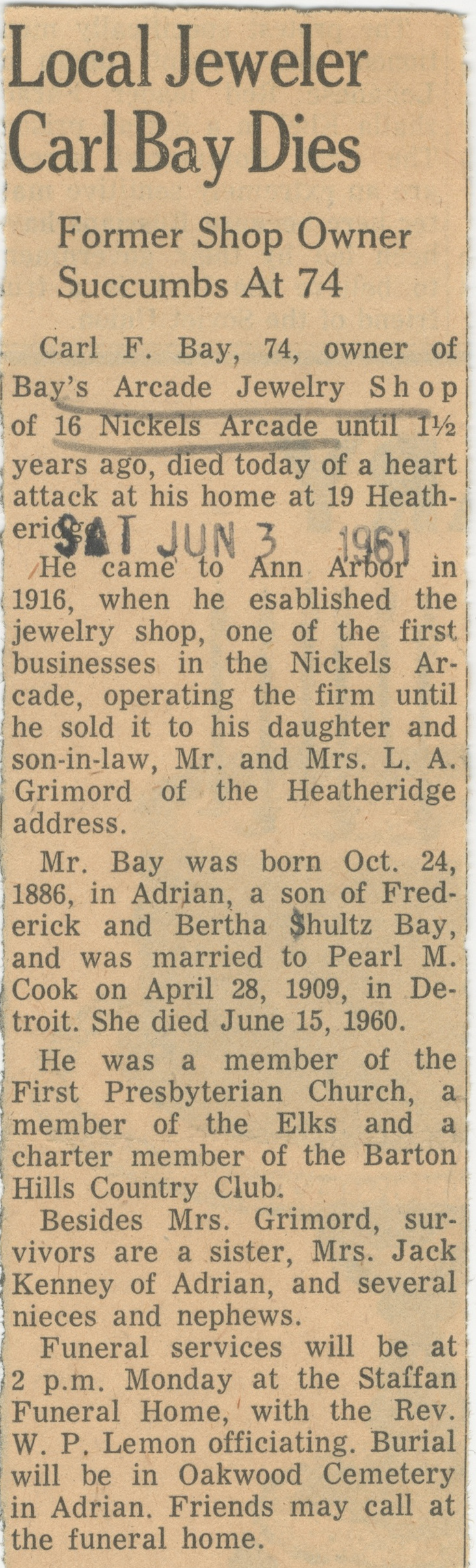 Local Jeweler Carl Bay Dies image