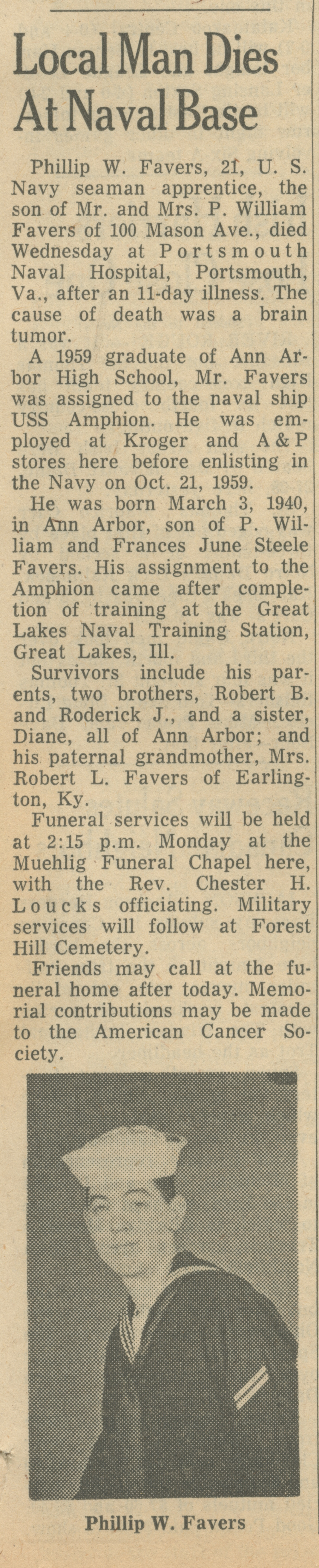 Local Man Dies At Naval Base image
