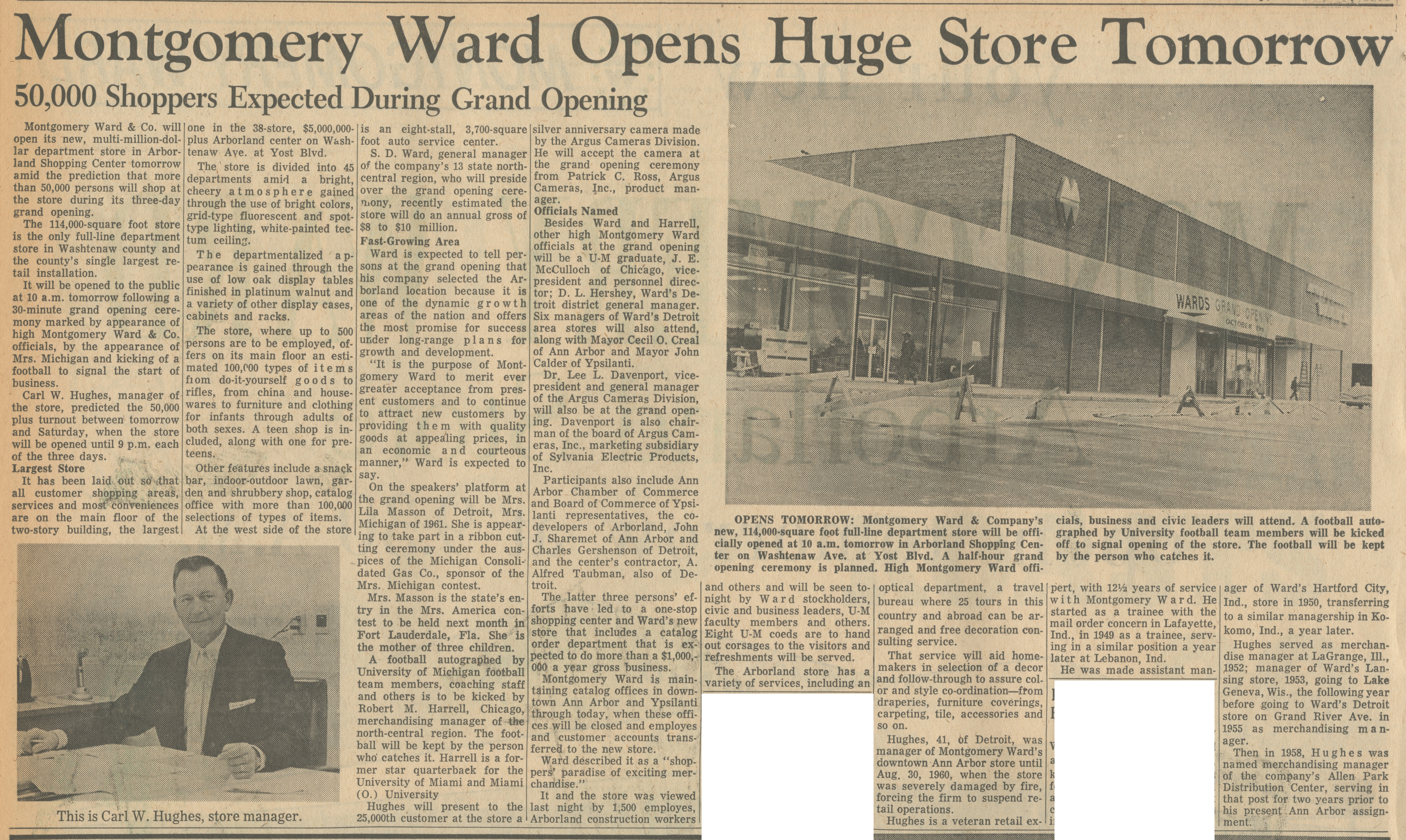 Montgomery Ward Opens Huge Store Tomorrow image