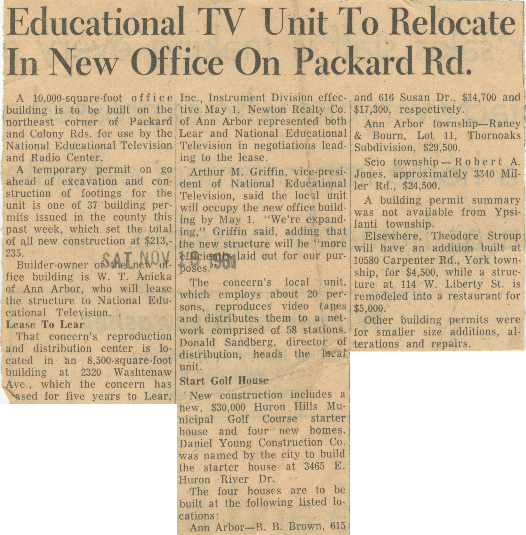 Educational TV Unit To Relocate In New  Office On Packard Rd. image