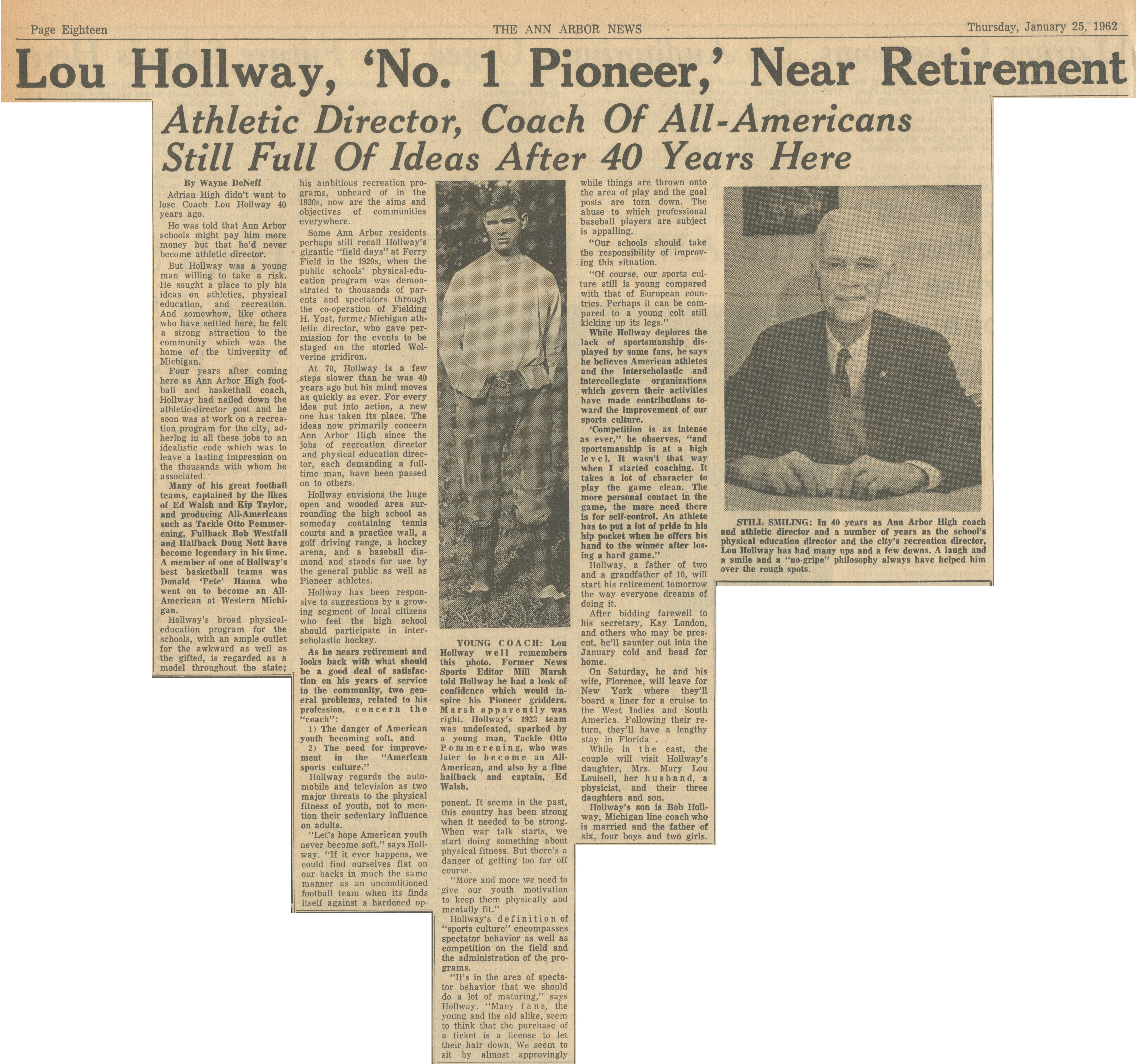 Lou Hollway, 'No. 1 Pioneer,' Near Retirement image