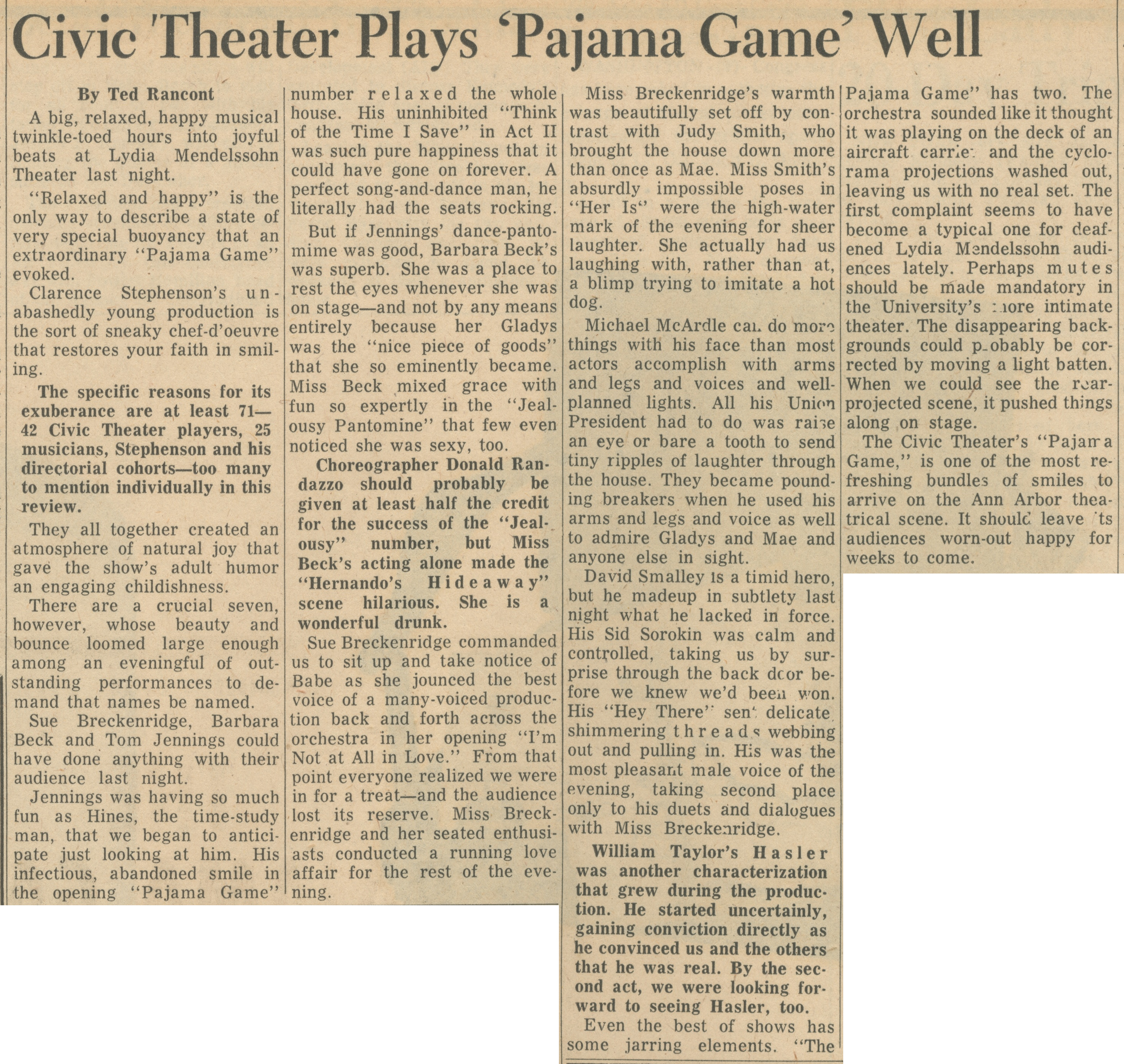 Civic Theater Plays 'Pajama Game' Well image