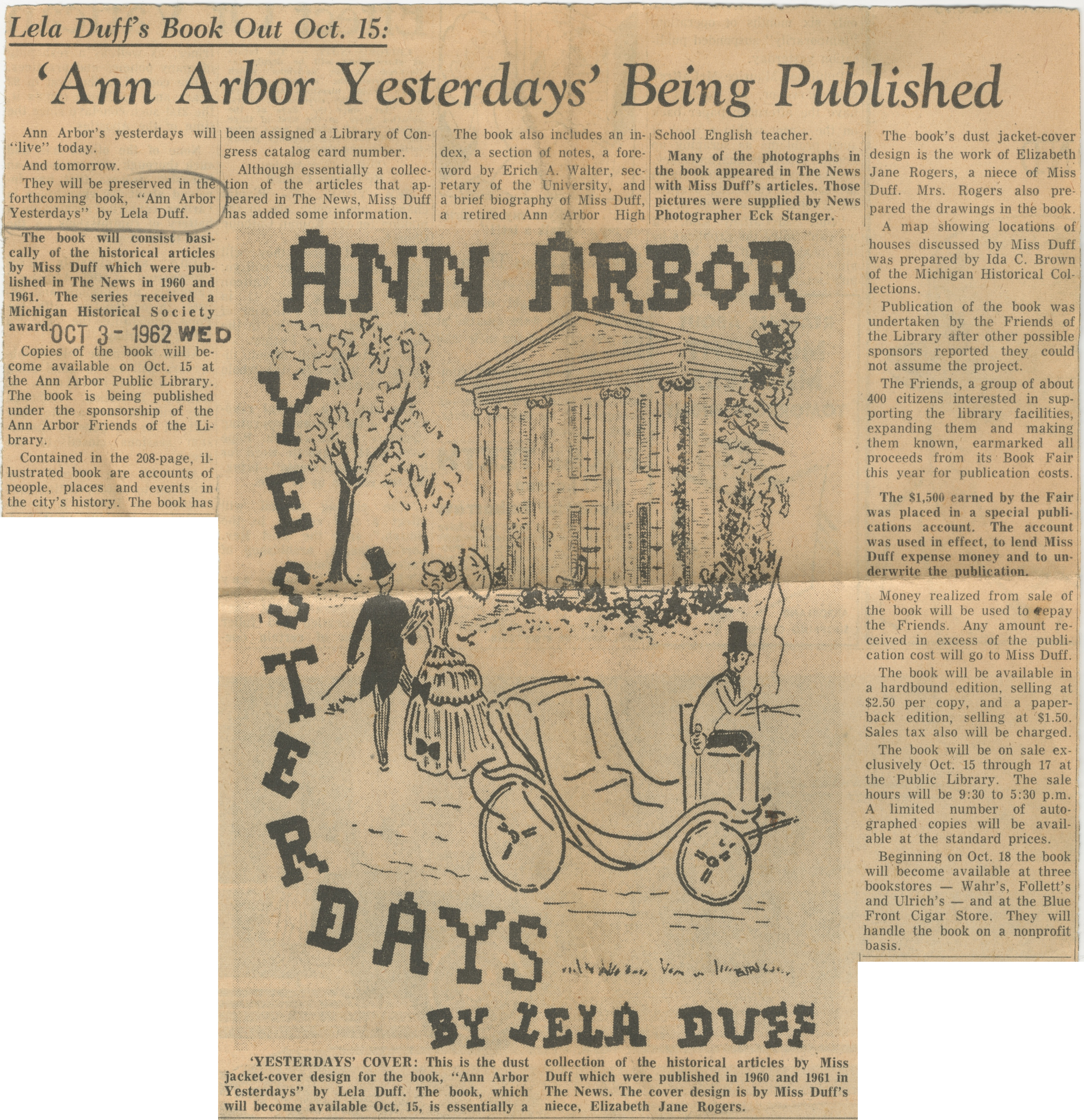 Lela Duff's Book Out Oct. 15:  'Ann Arbor Yesterdays' Being Published image
