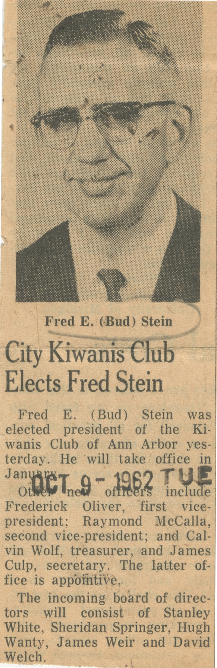 City Kiwanis Club Elects Fred Stein image