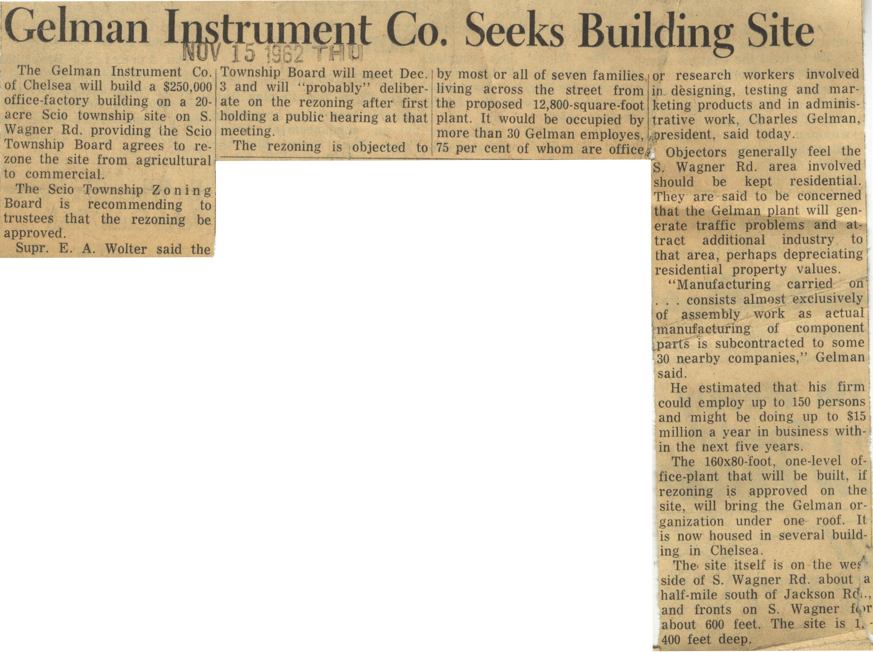 Gelman Instrument Co. Seeks Building Site image