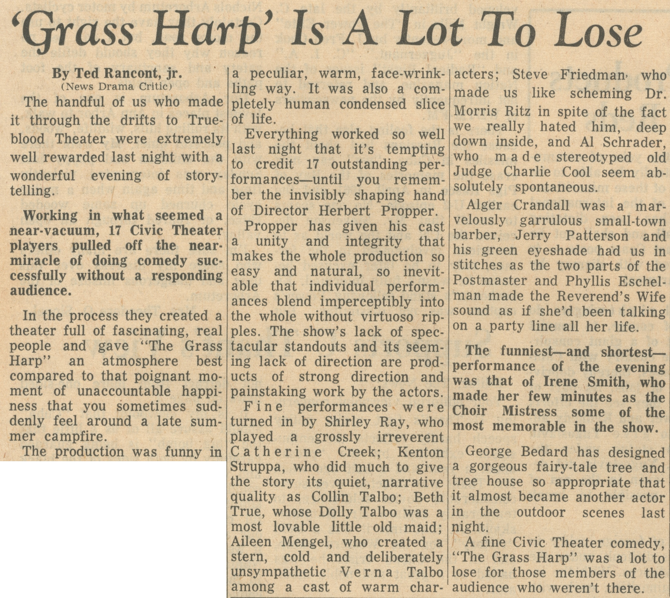 'Grass Harp' Is A Lot To Lose image