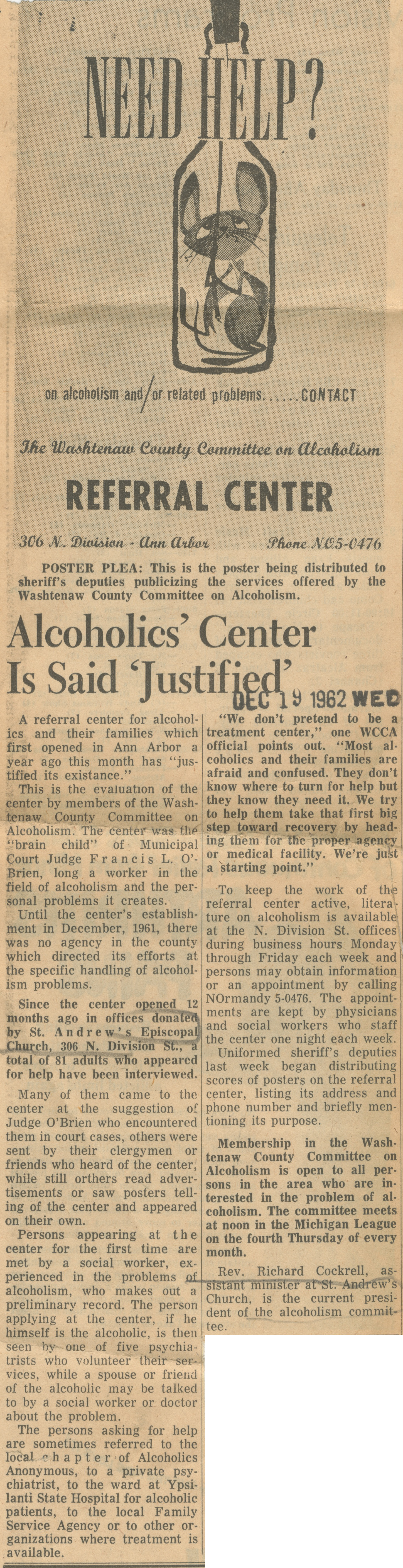 Alcoholics' Center Is Said 'Justified' image