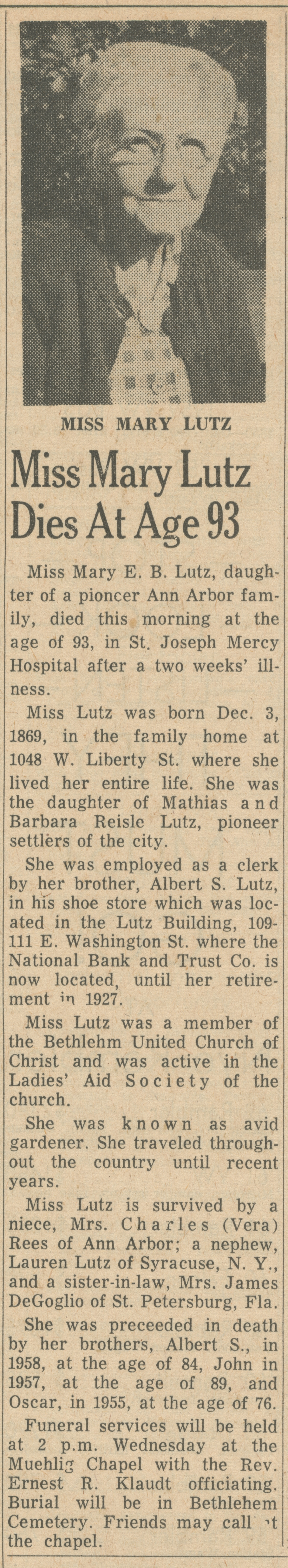 Miss Mary Lutz Dies At Age 93 image