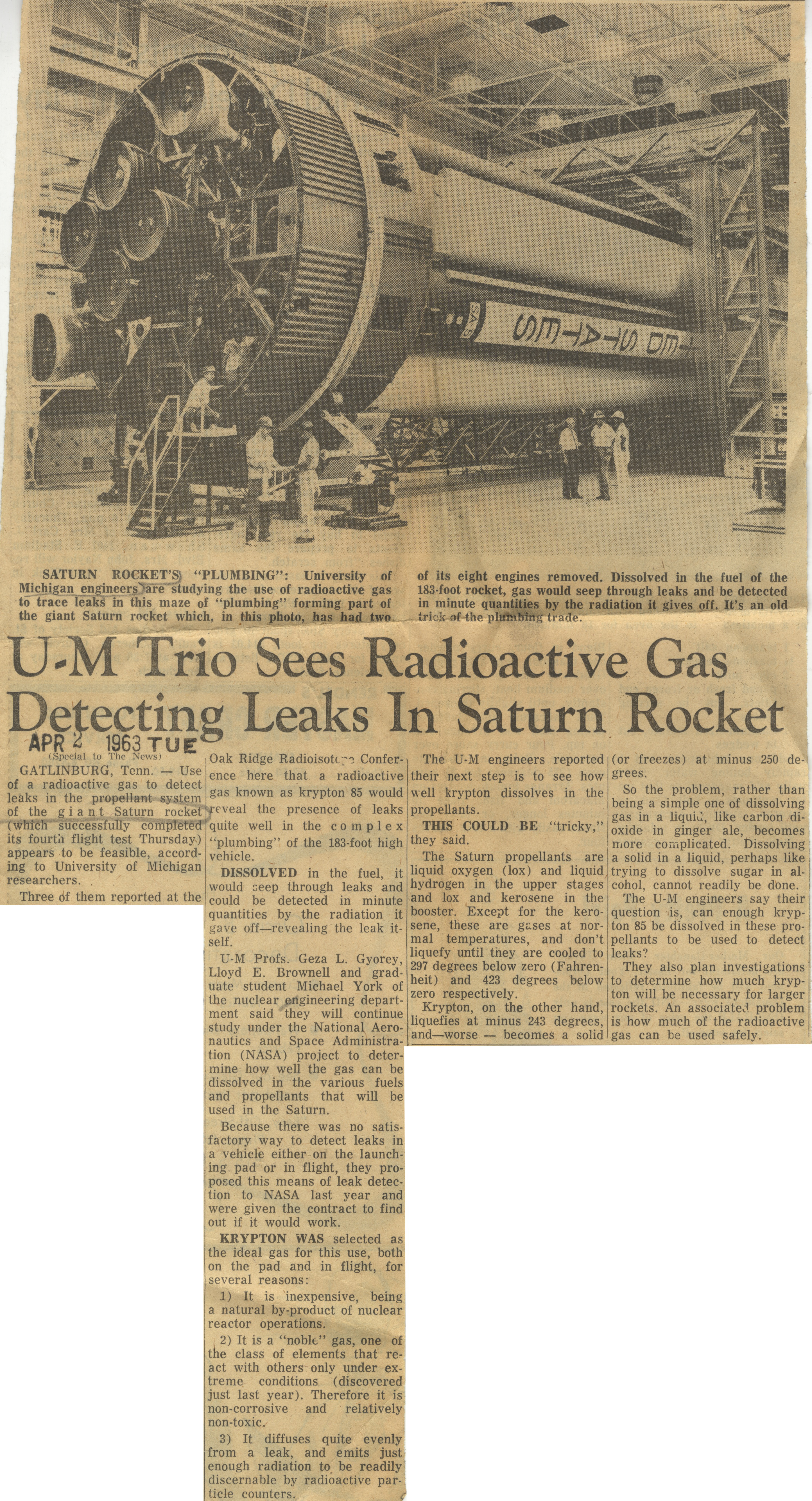 U-M Trio Sees Radioactive Gas Detecting Leaks In Saturn Rocket image