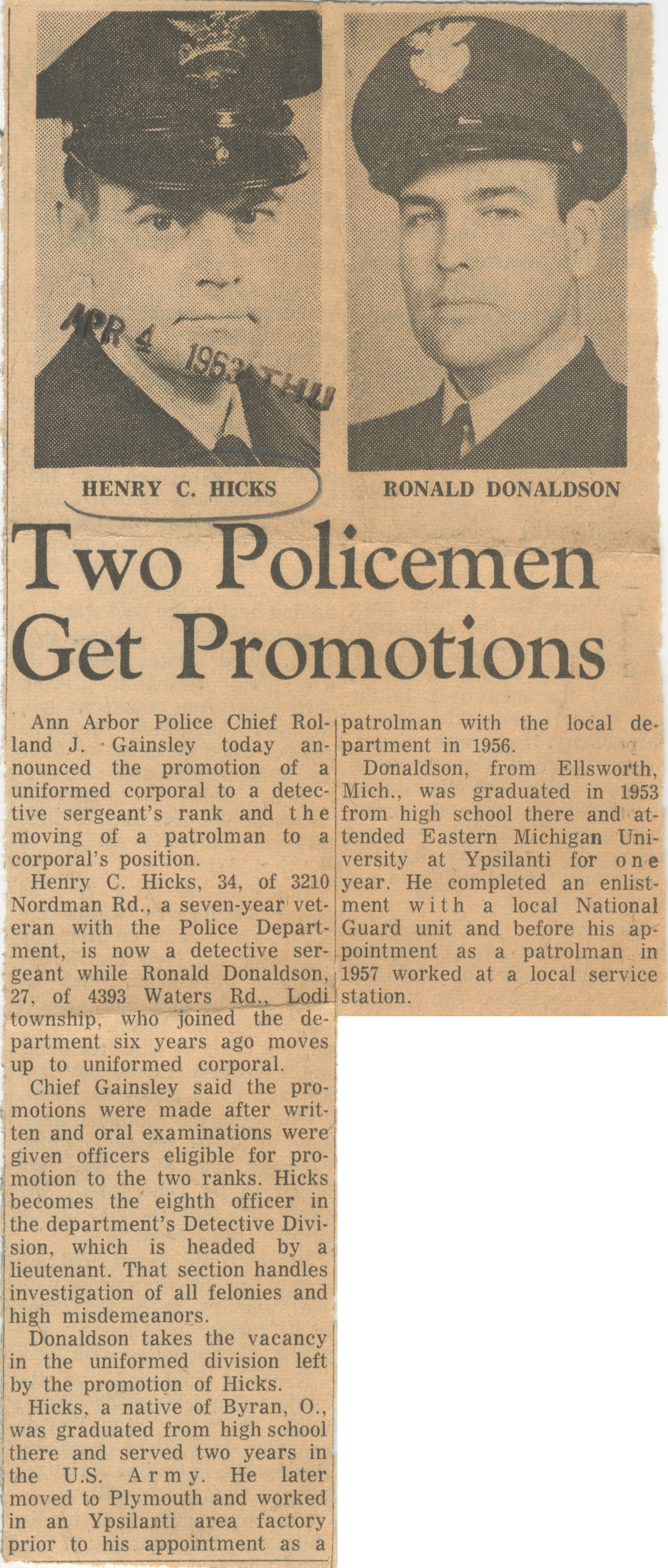 Two Policemen Get Promotions image