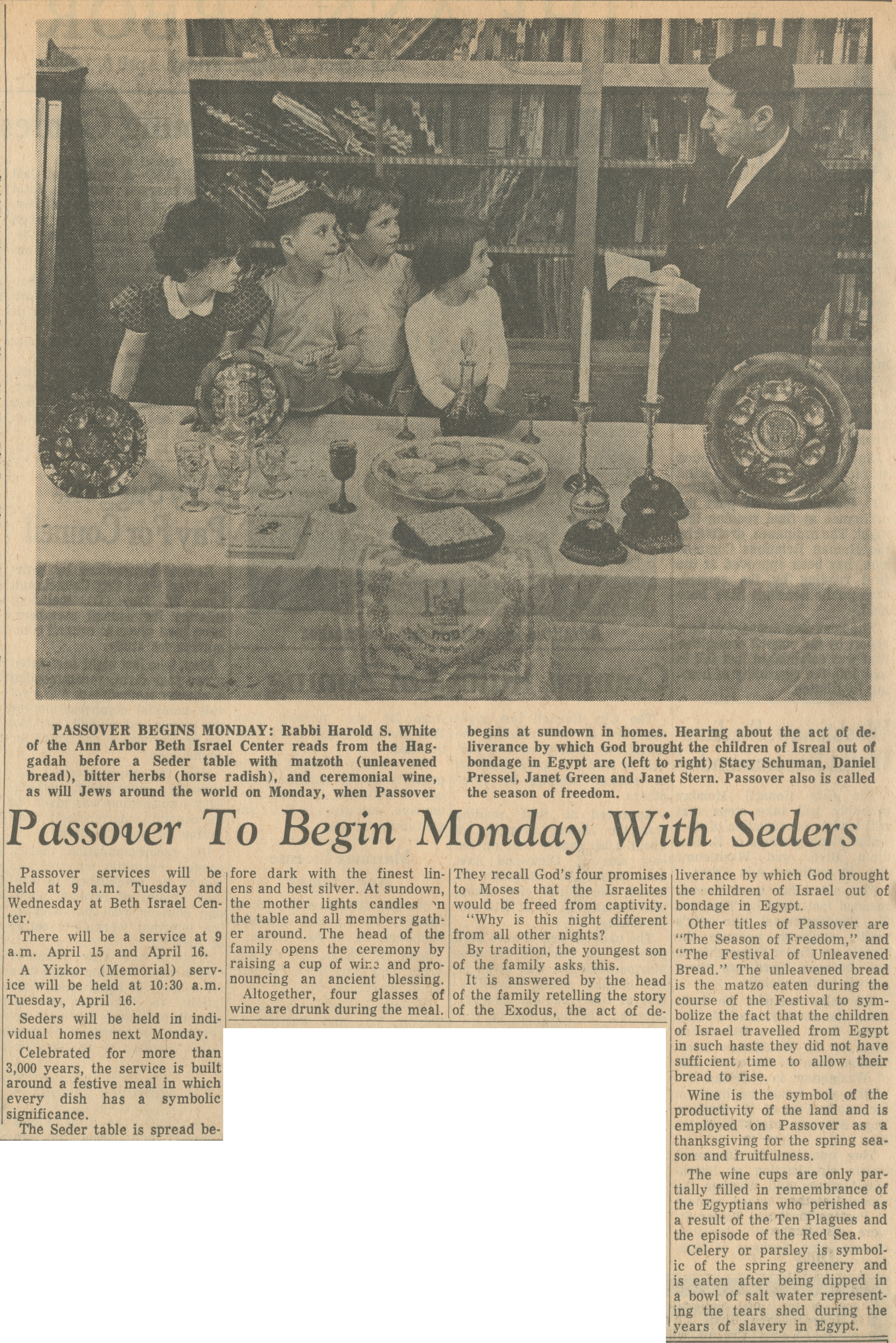 Passover To Begin Monday With Seders image
