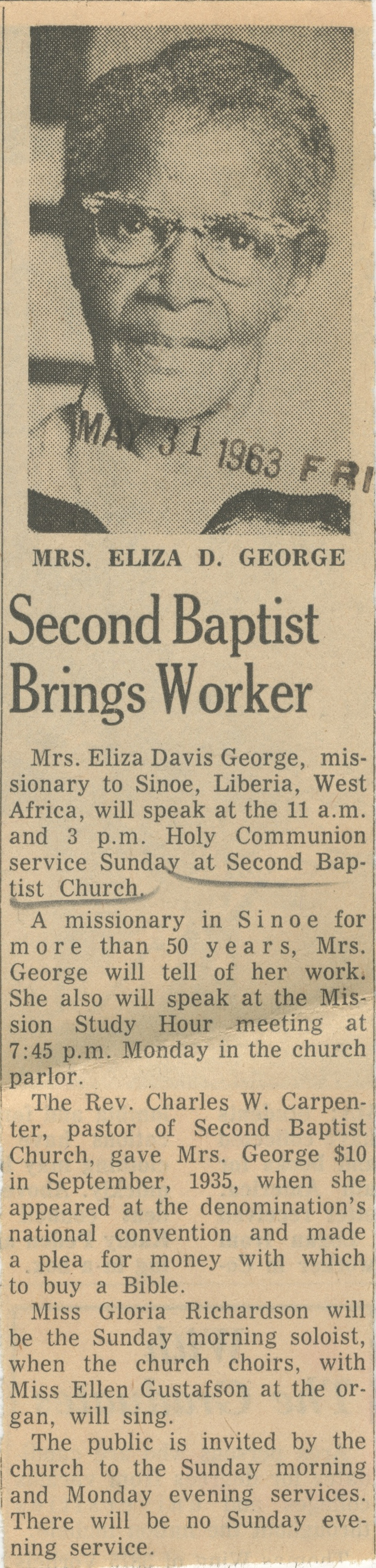 Second Baptist Brings Worker image