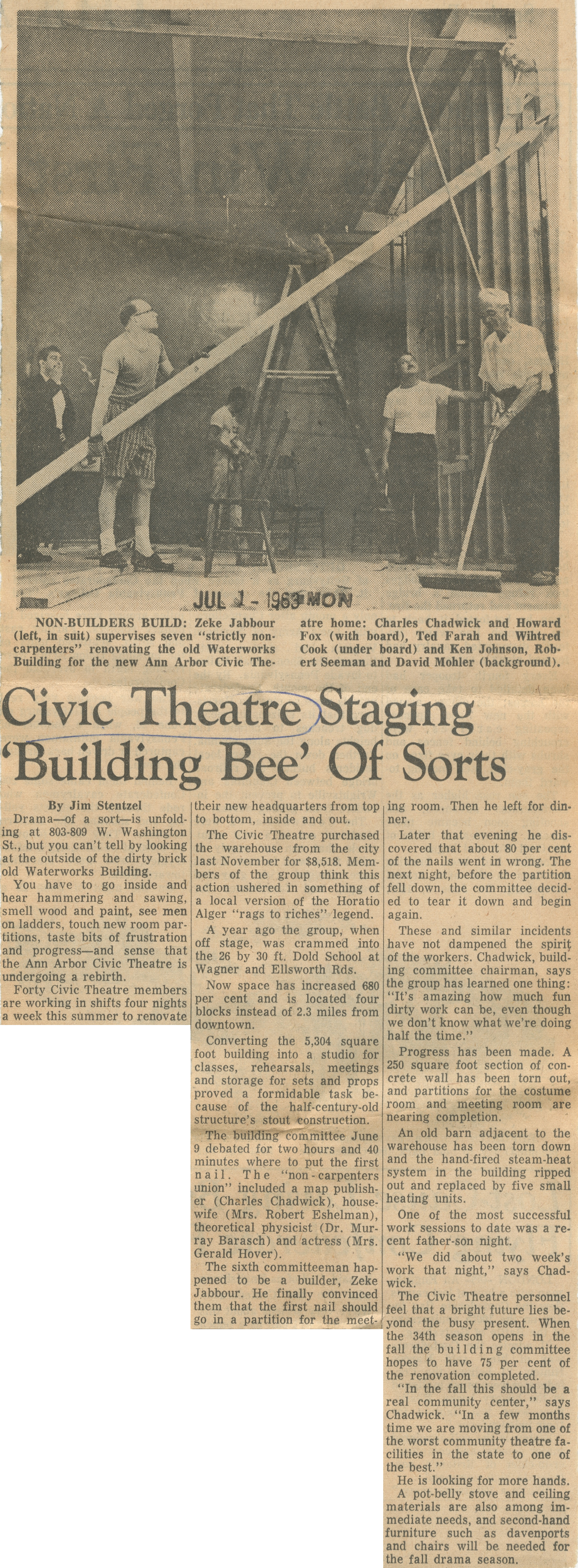Civic Theatre Staging 'Building Bee' Of Sorts image