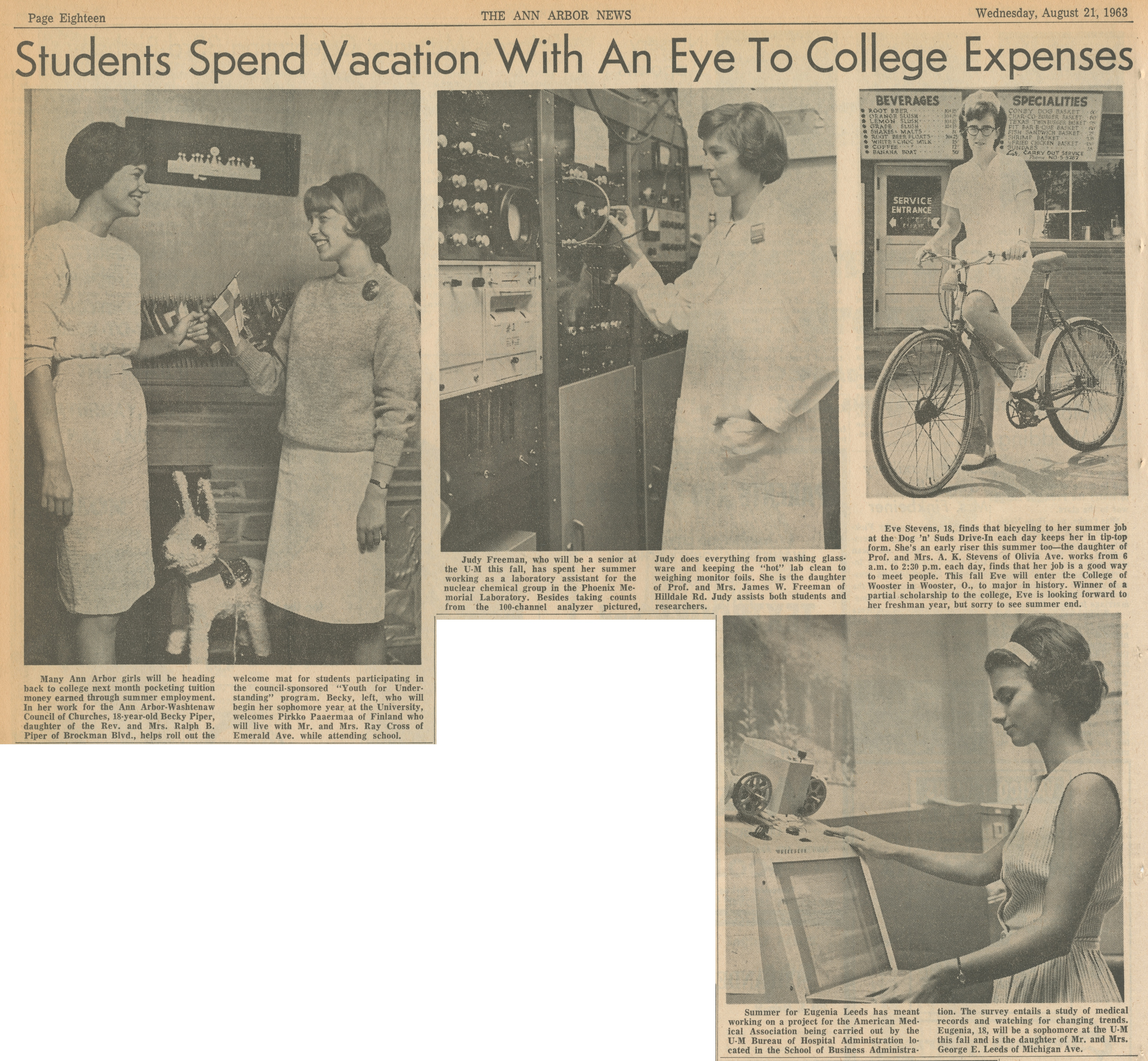 Students Spend Vacation With An Eye To College Expenses image