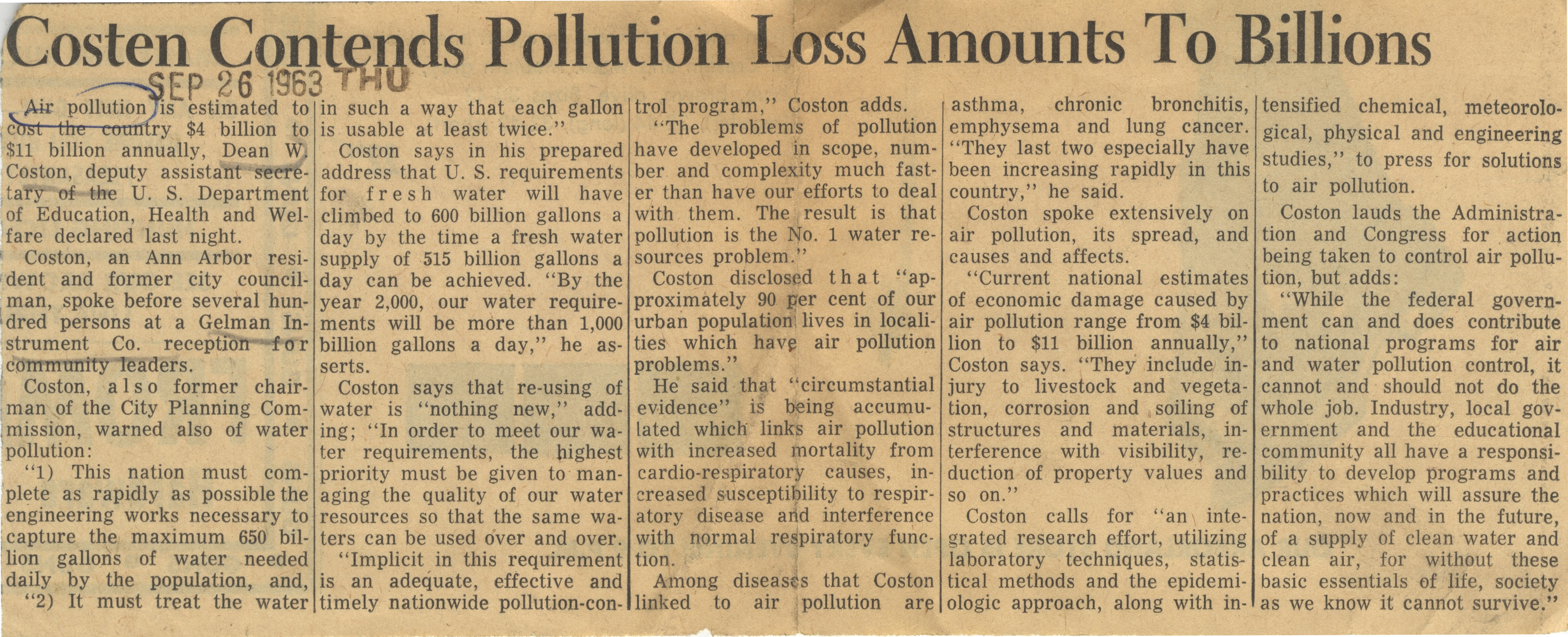 Costen Contends Pollution Loss Amounts To Billions image