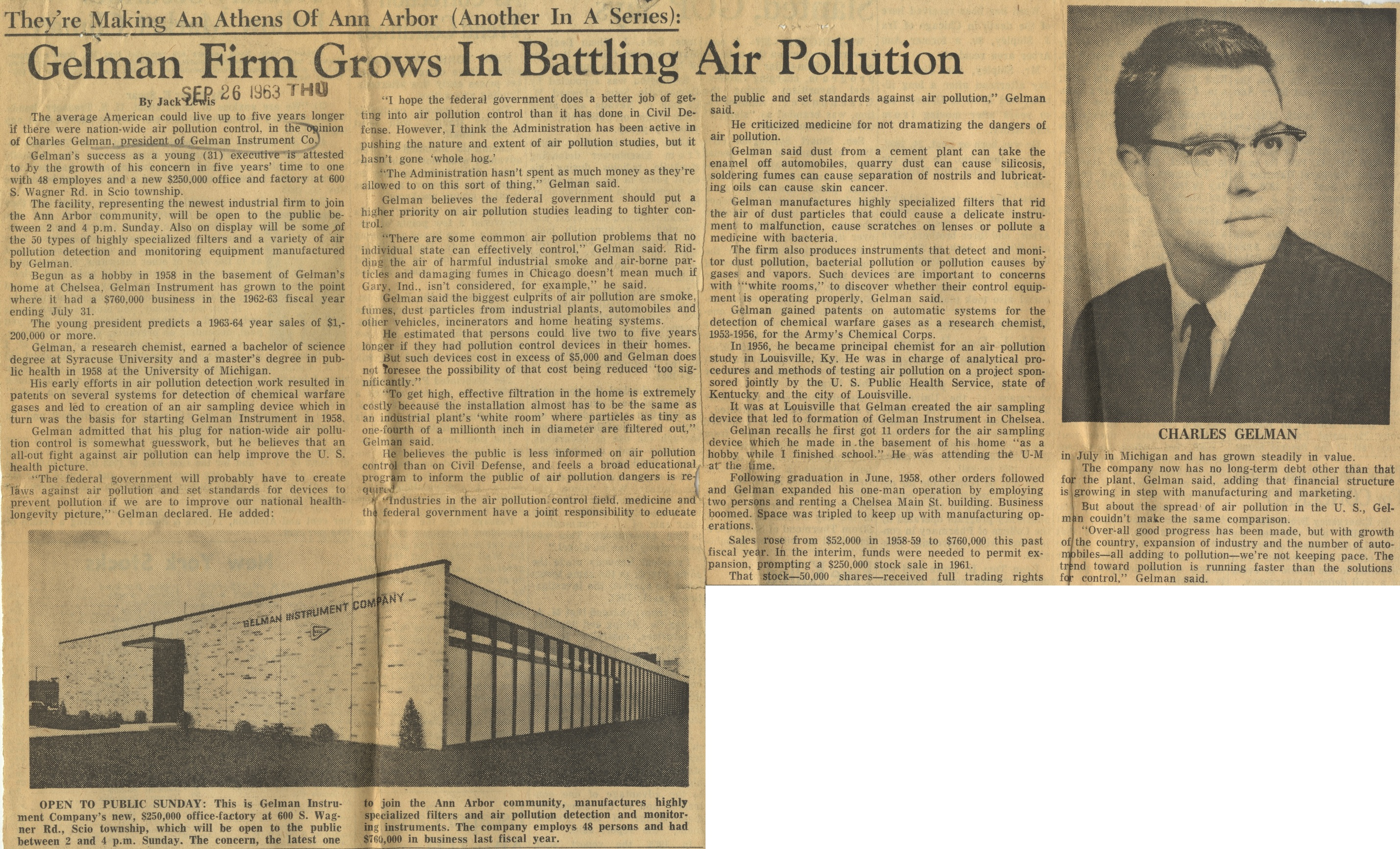 Gelman Firm Grows In Battling Air Pollution image
