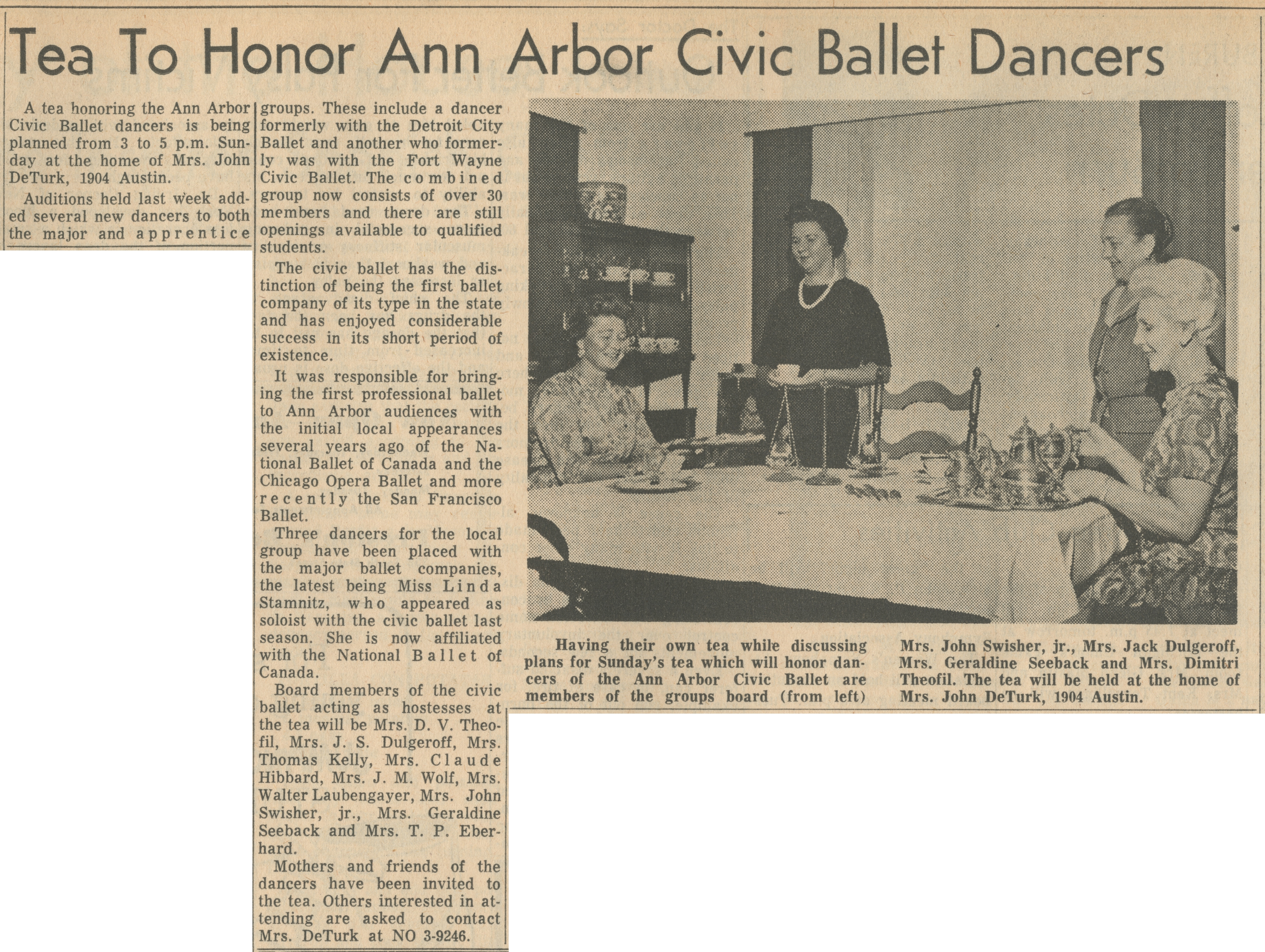 Tea To Honor Ann Arbor Civic Ballet Dancers image