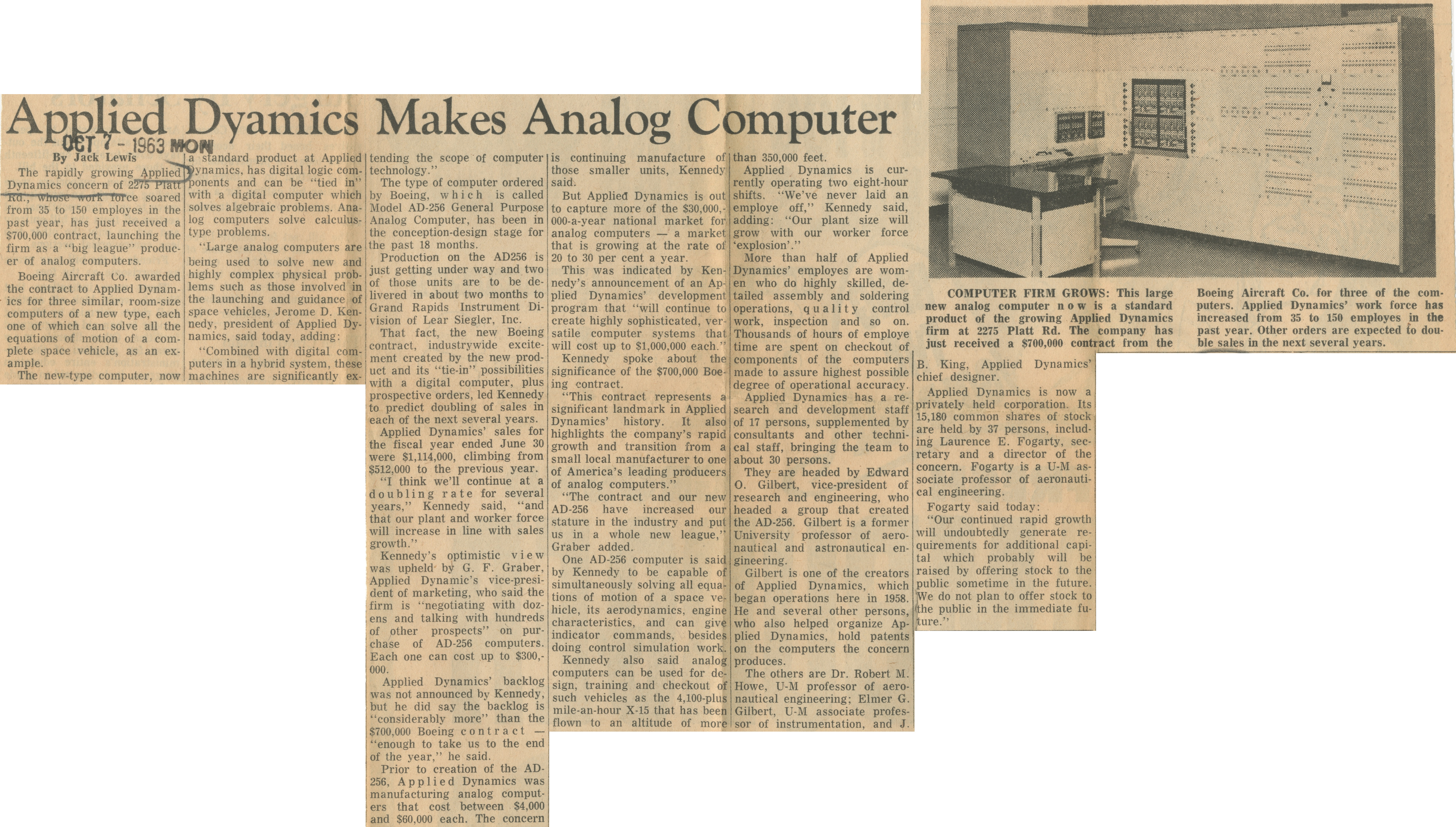 Applied Dynamics Makes Analog Computer image