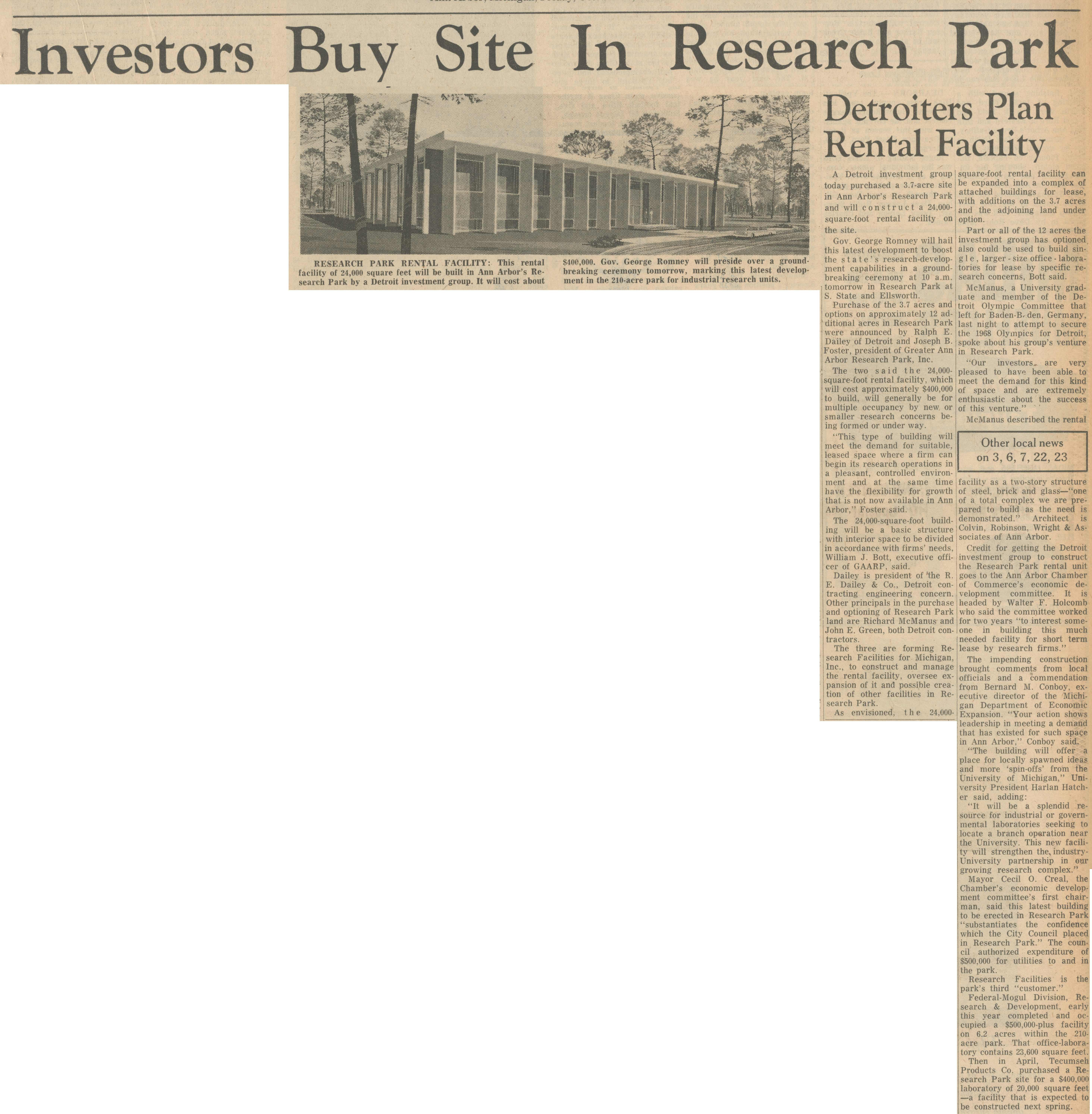 Investors Buy Site In Research Park image