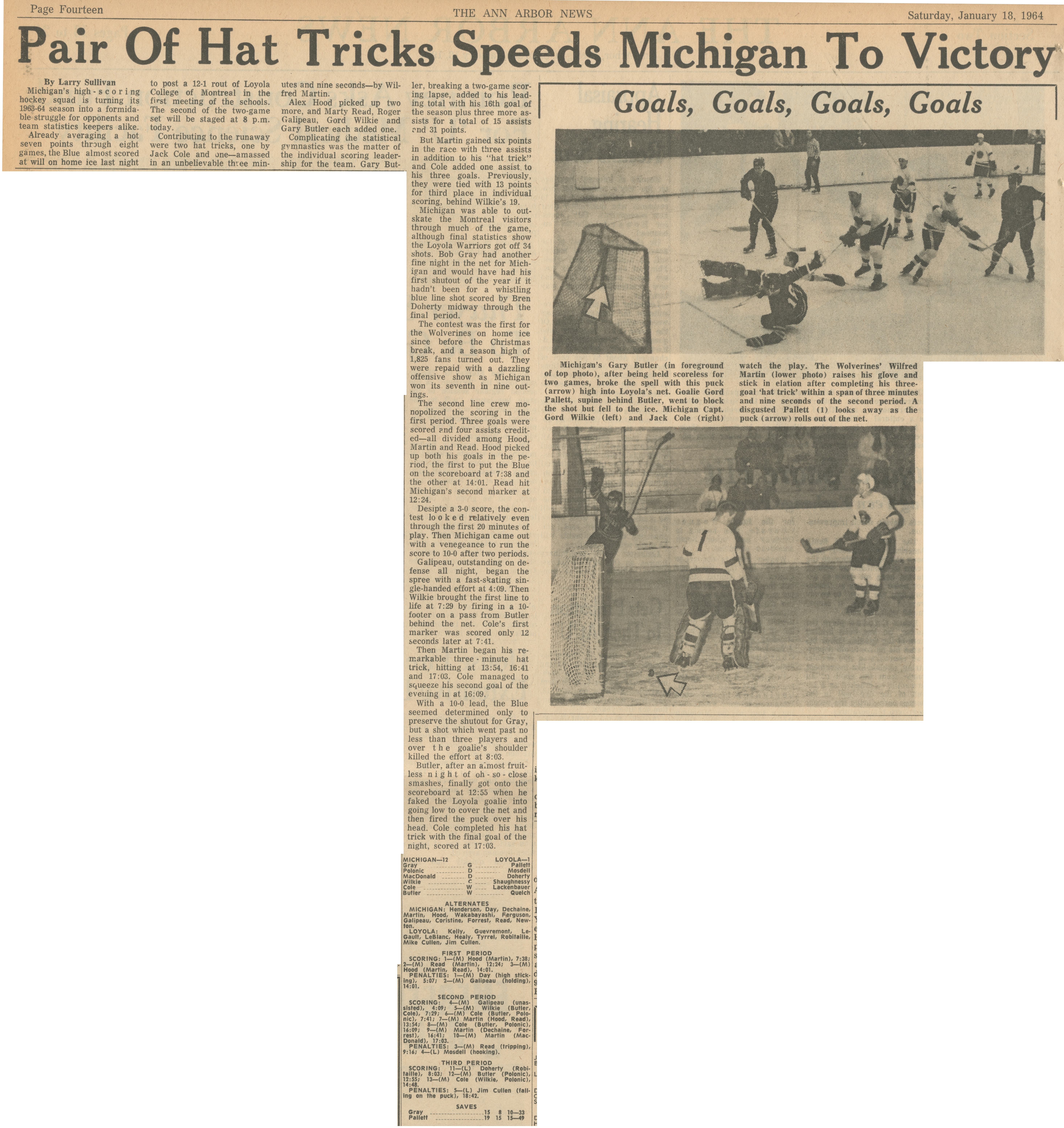 Pair Of Hat Tricks Speeds Michigan To Victory image