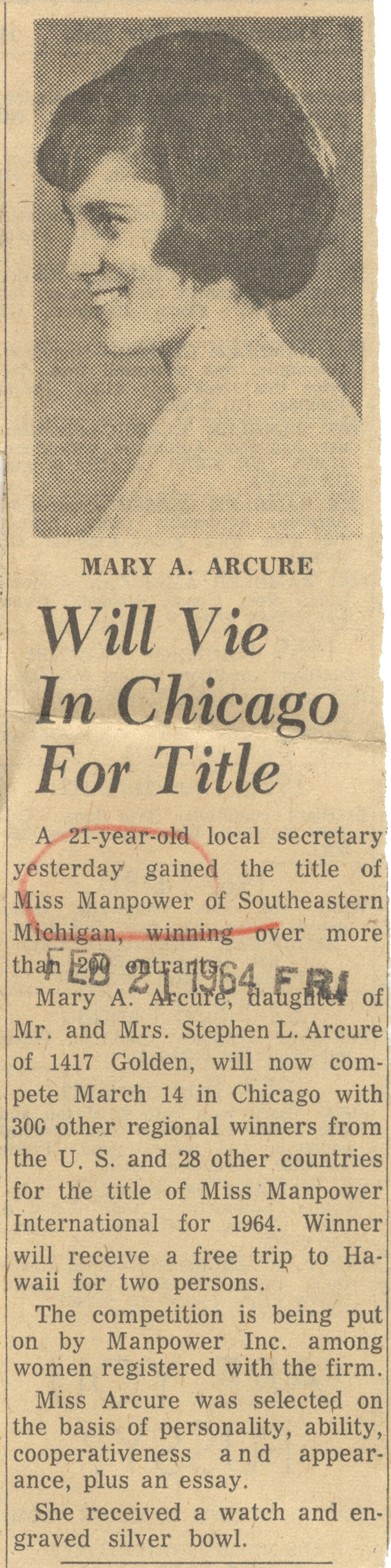 Mary A. Arcure Will Vie In Chicago For Title image