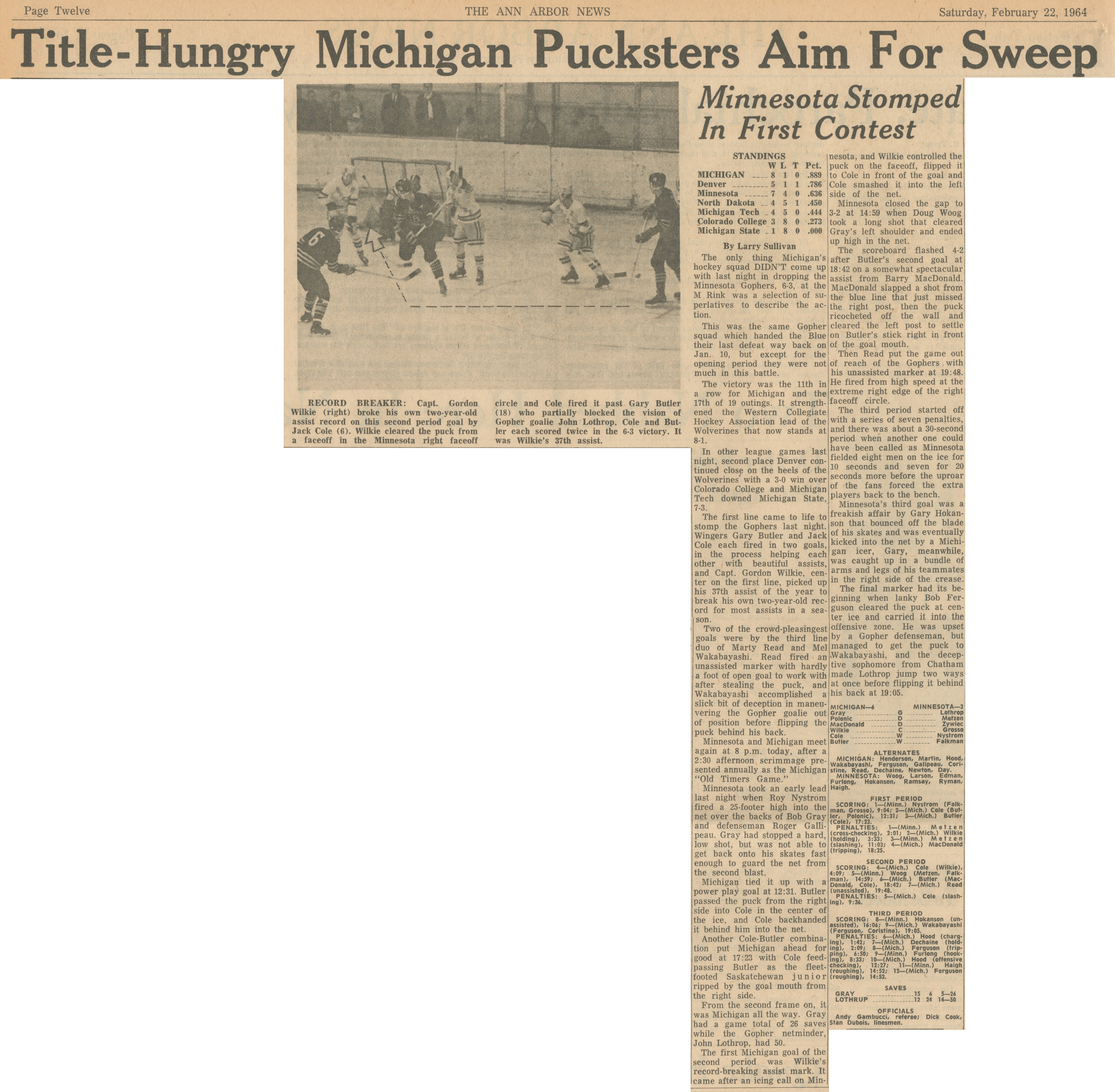 Title-Hungry Michigan Pucksters Aim For Sweep image