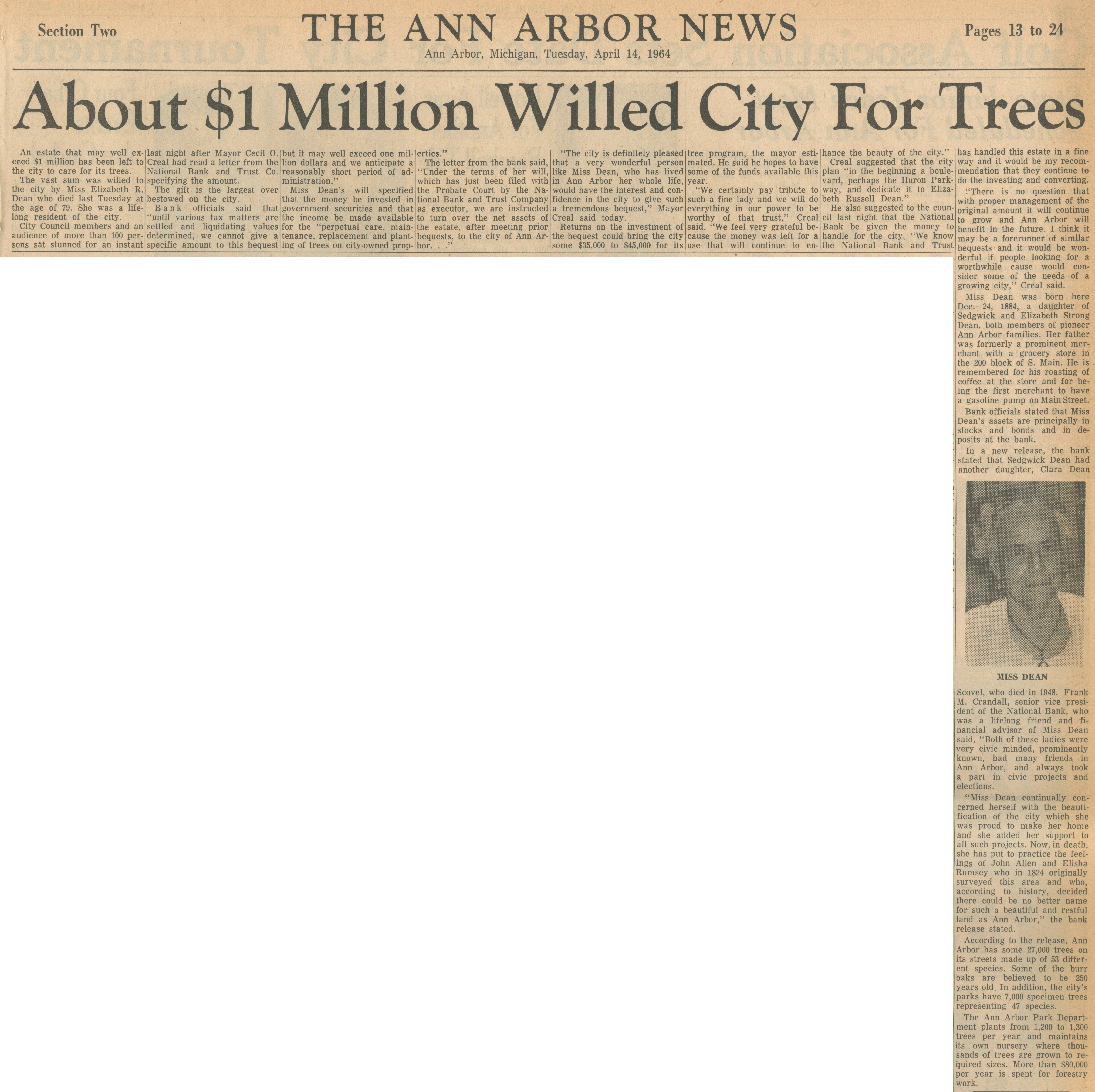 About $1 Million Willed City For Trees image