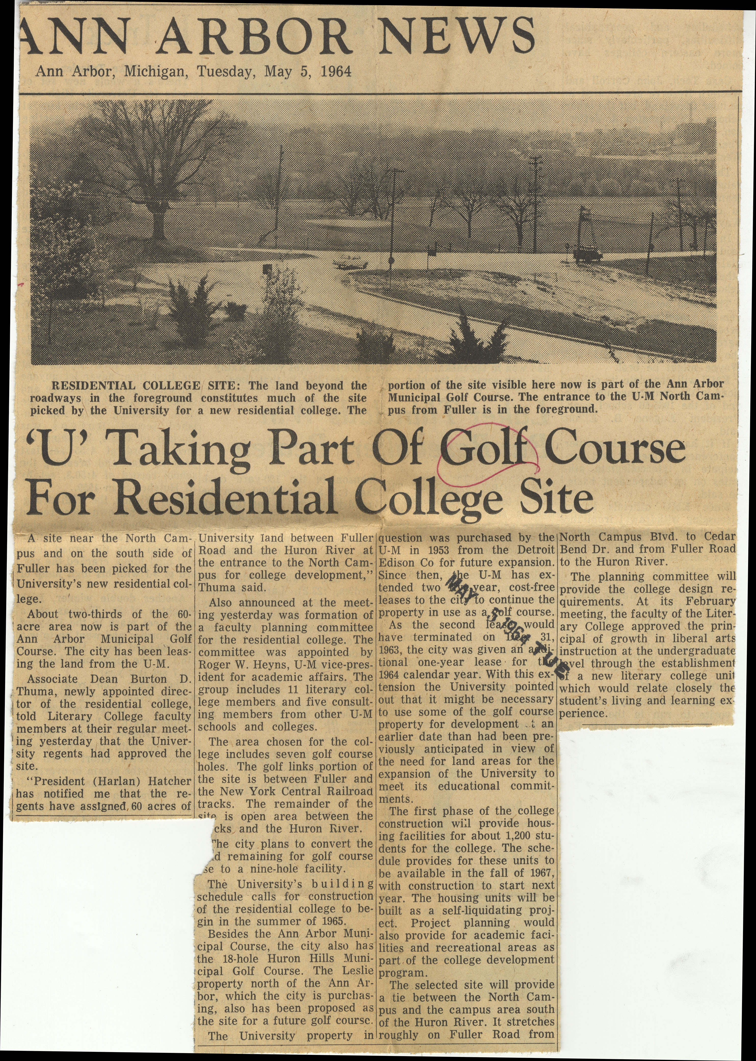 'U' Taking Park of Golf Course For Residential College Site image