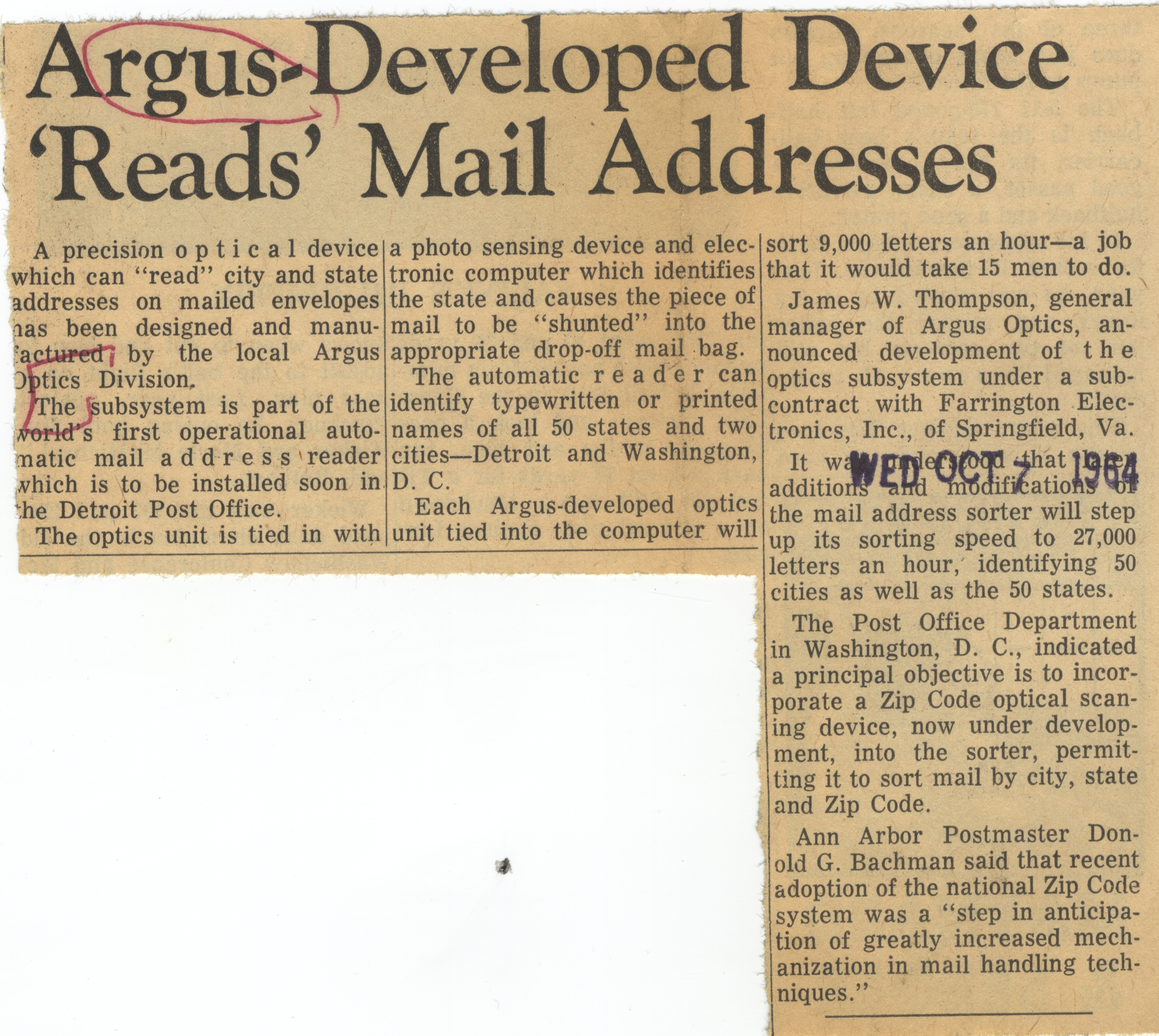 "Argus-Developed Device ""Reads"" Mail Addresses image"