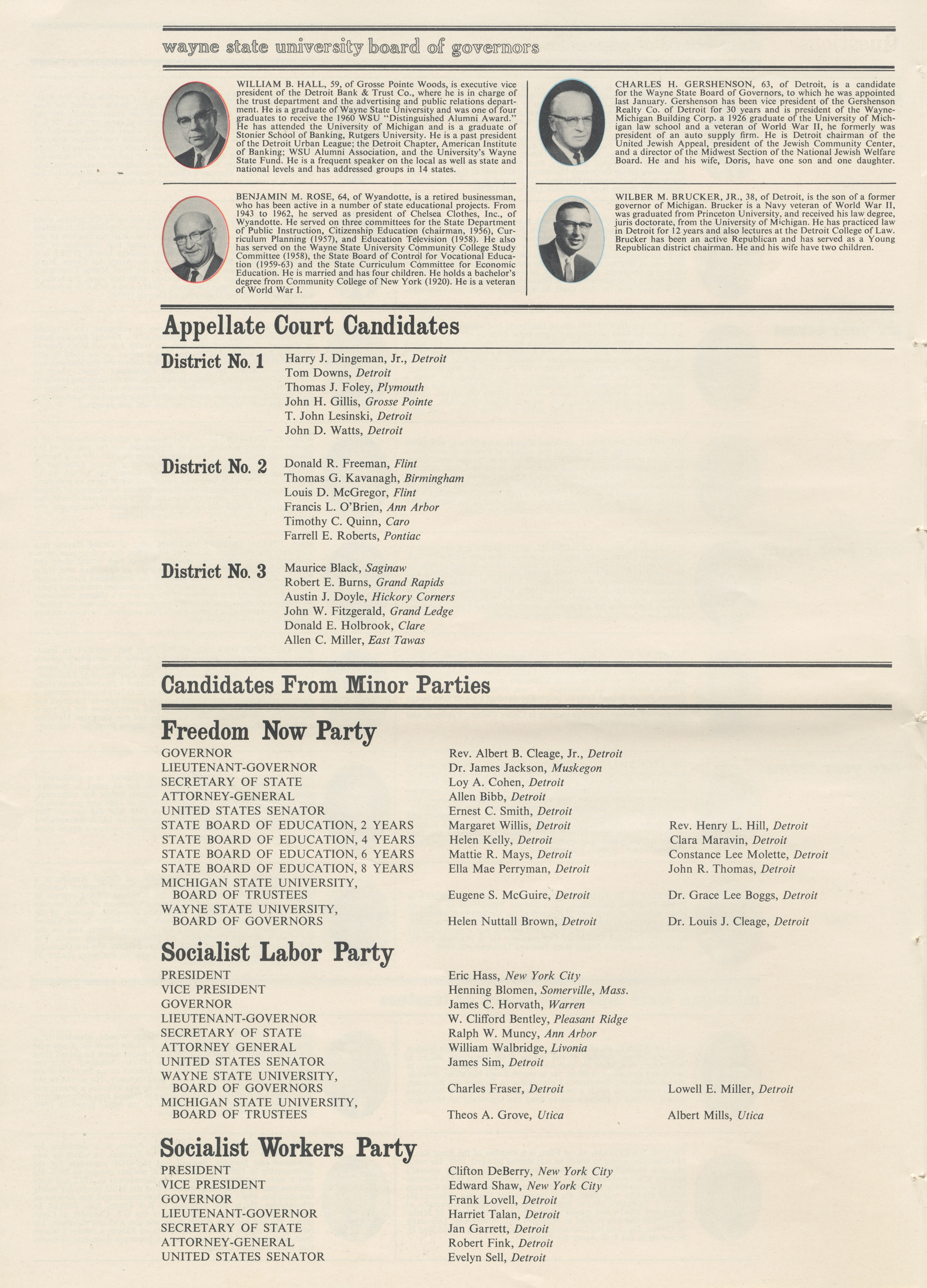 What You Should Know To Make Your Vote Count In 1964 ~ Wayne State University Board of Regents image