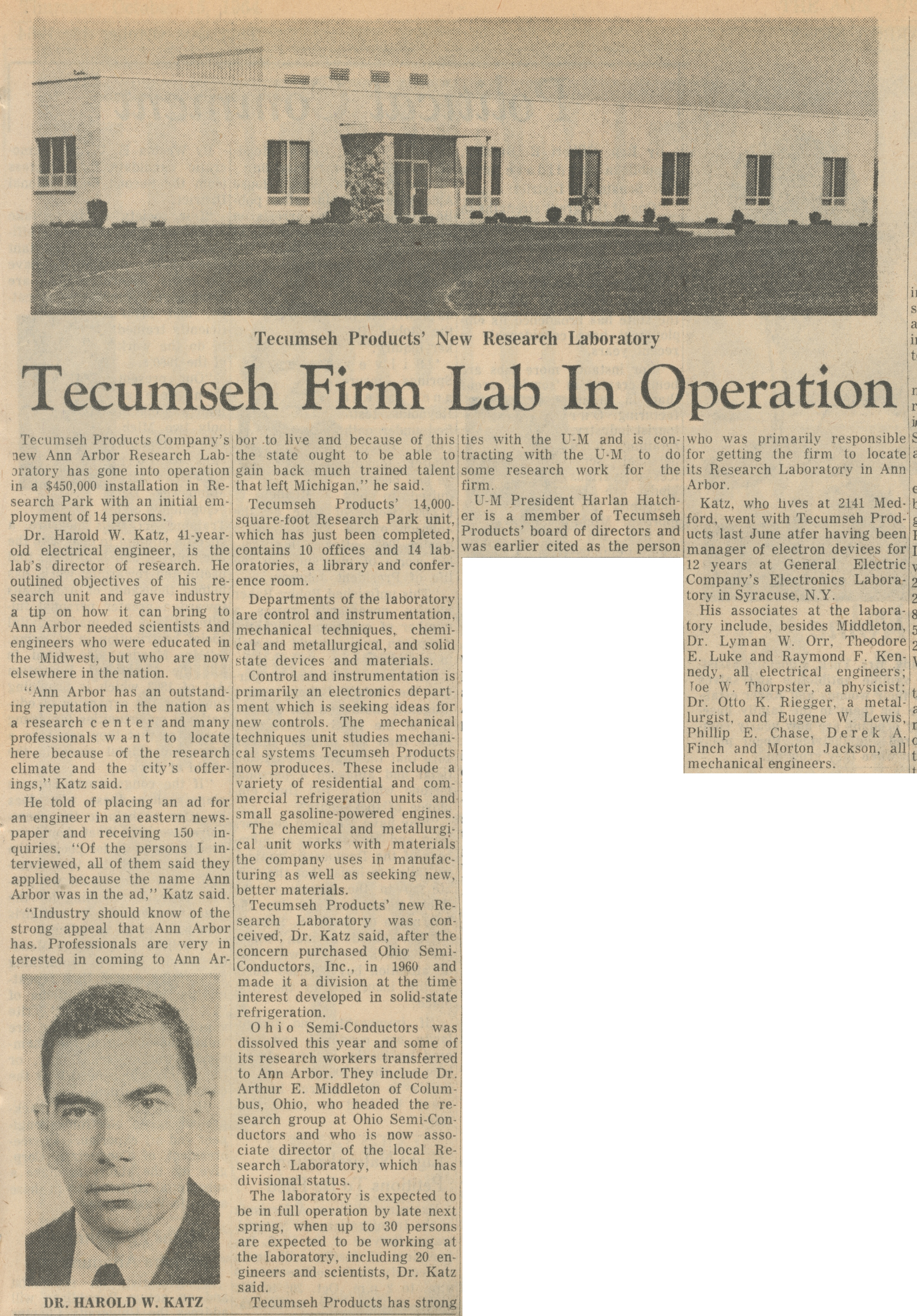 Tecumseh Firm Lab In Operation image