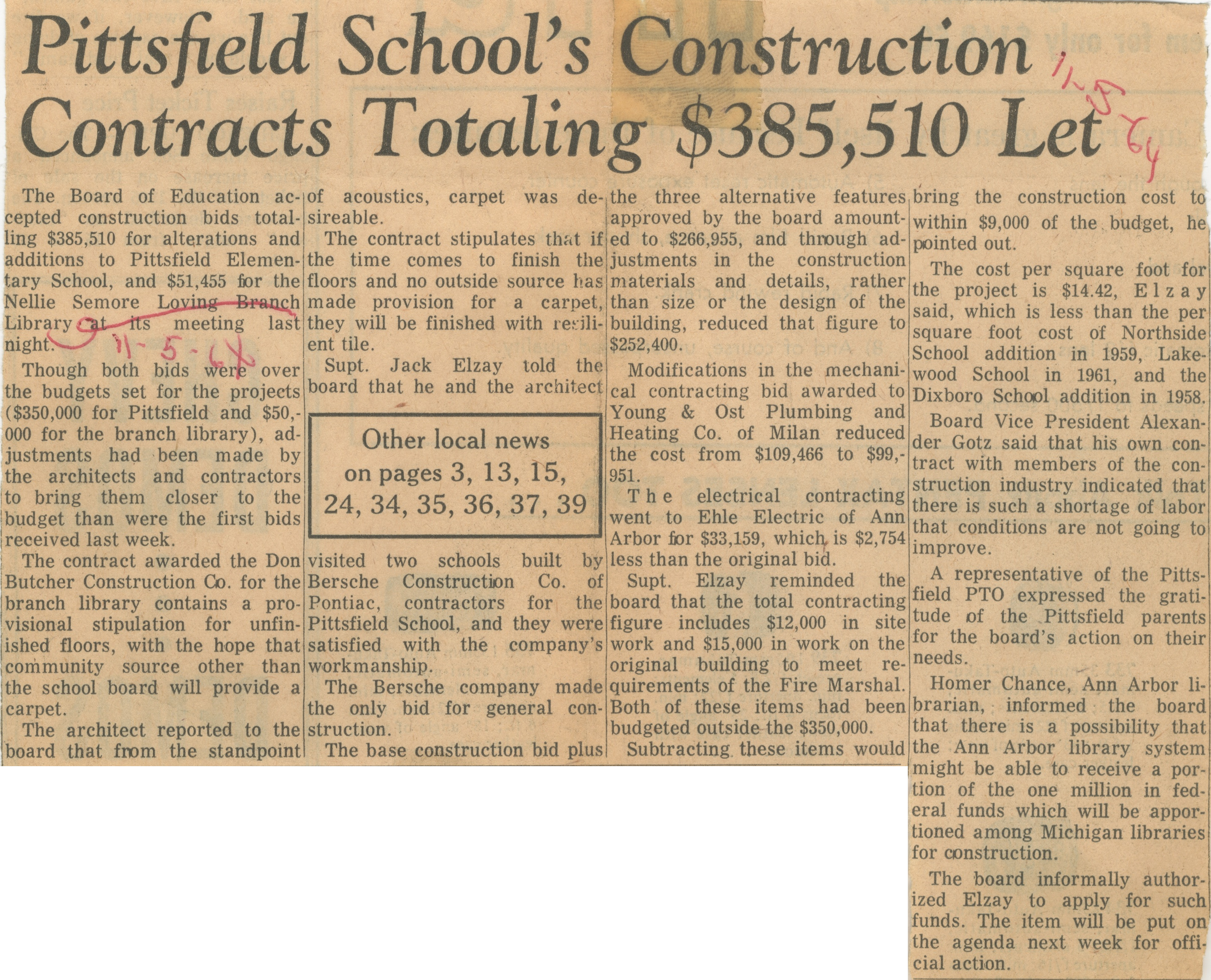 Pittsfield School's Construction Contracts Totaling $385, 510 Let image