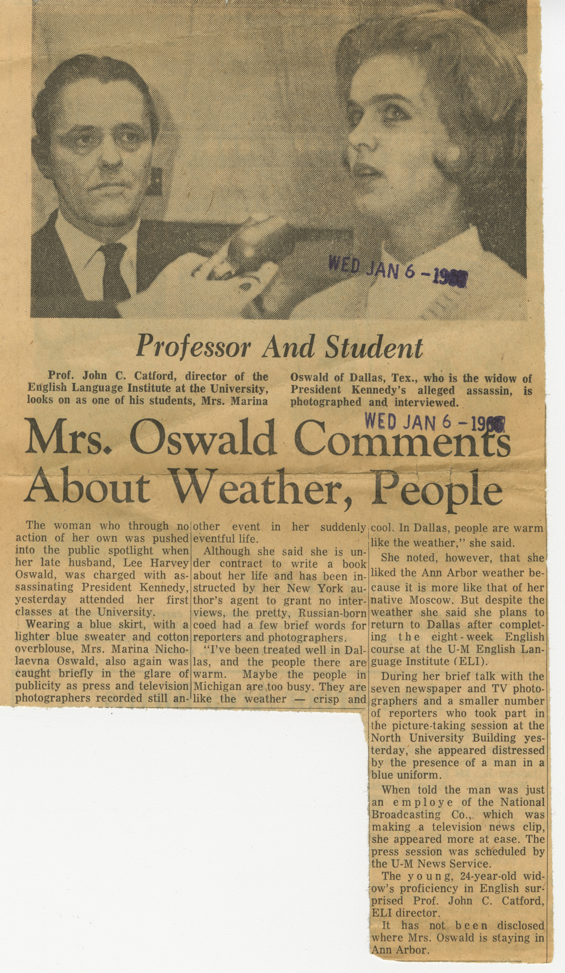 Mrs. Oswald Comments About Weather, People image