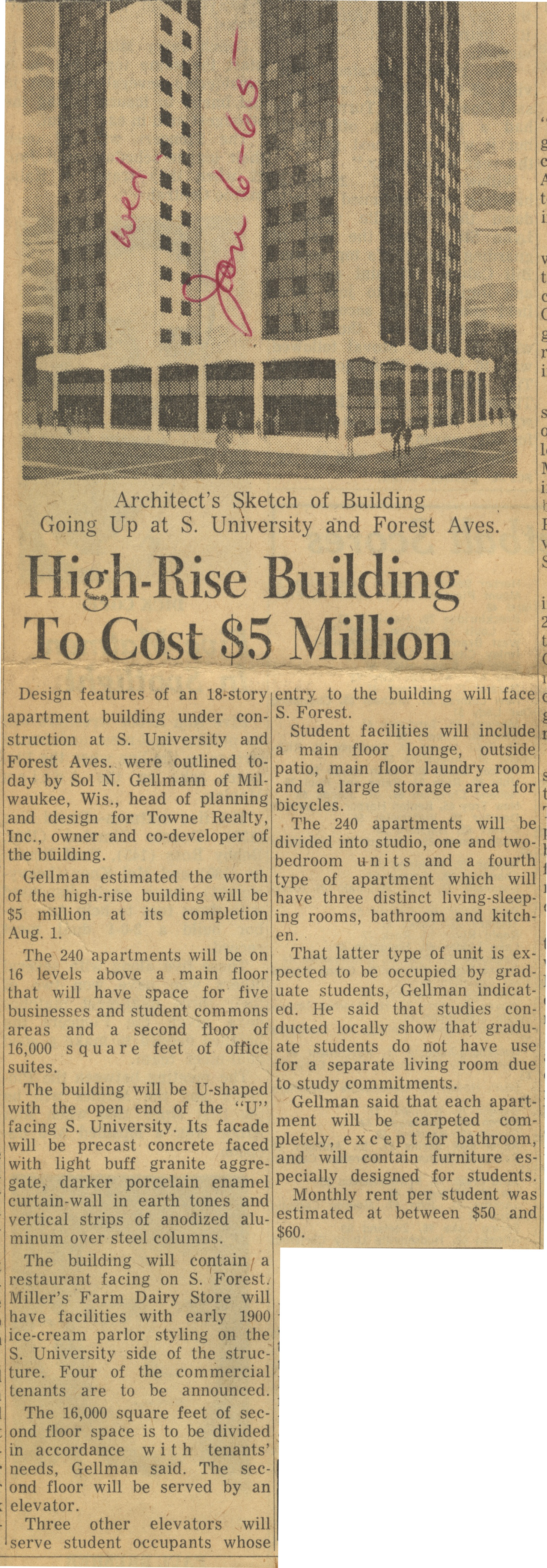 High-Rise Building To Cost $5 Million image