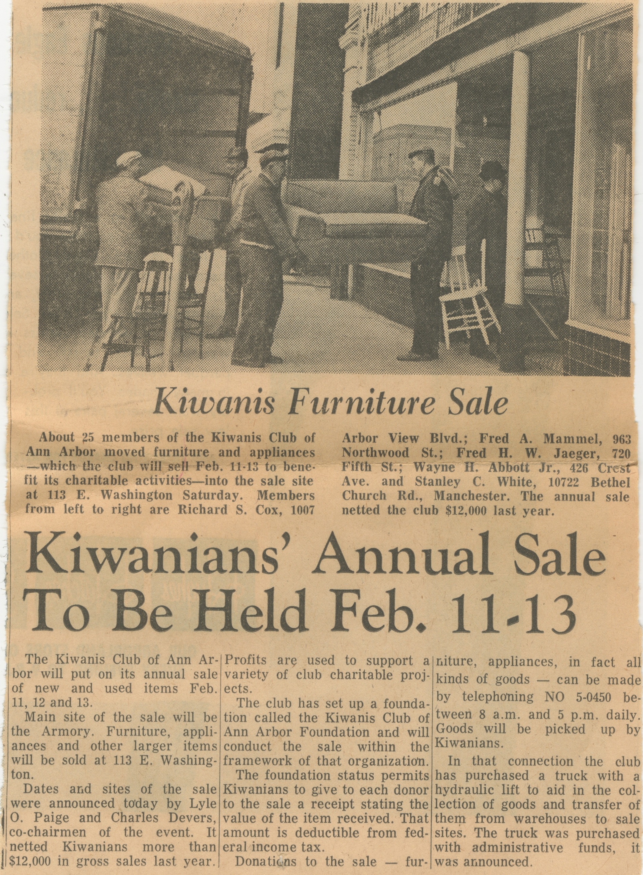 Kiwanians' Annual Sale To Be Held Feb. 11 - 13 image