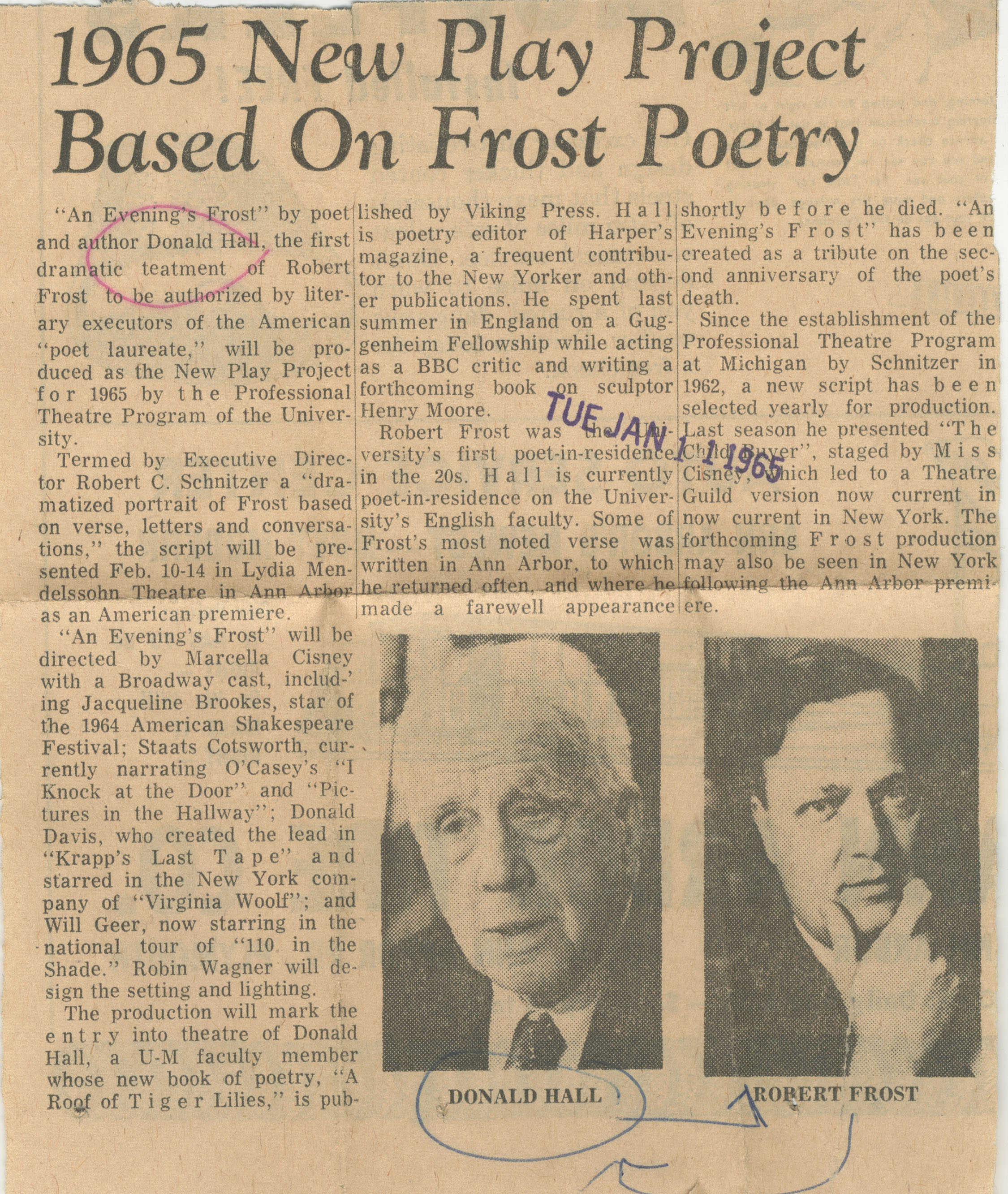 1965 New Play Project Based On Frost Poetry image