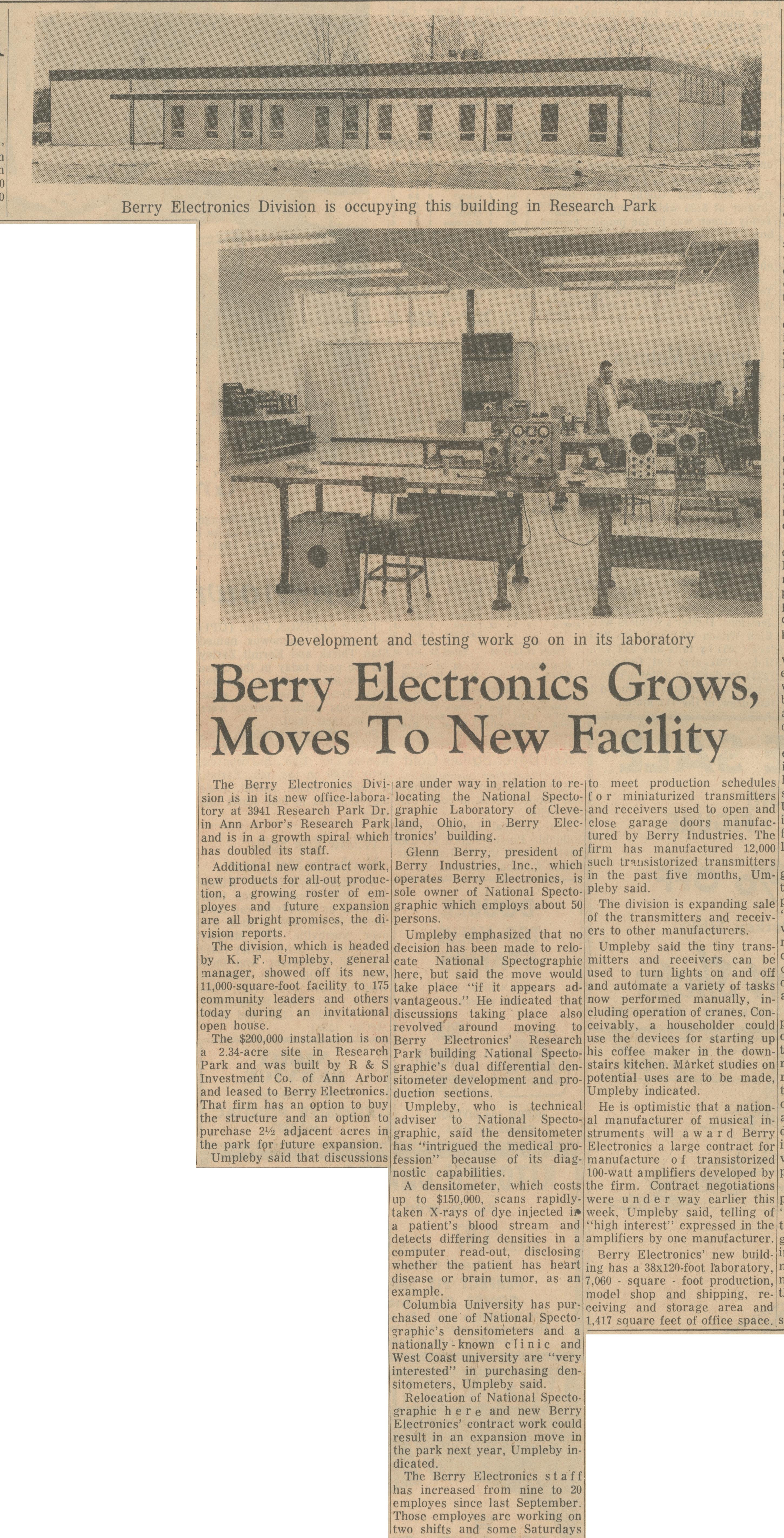 Berry Electronics Grows, Moves To New Facility image