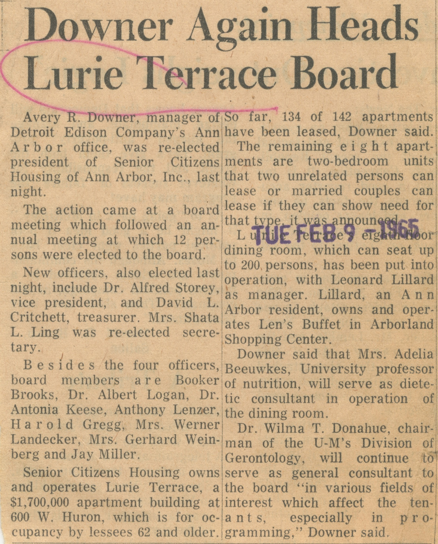Downer Again Heads Lurie Terrace Board image