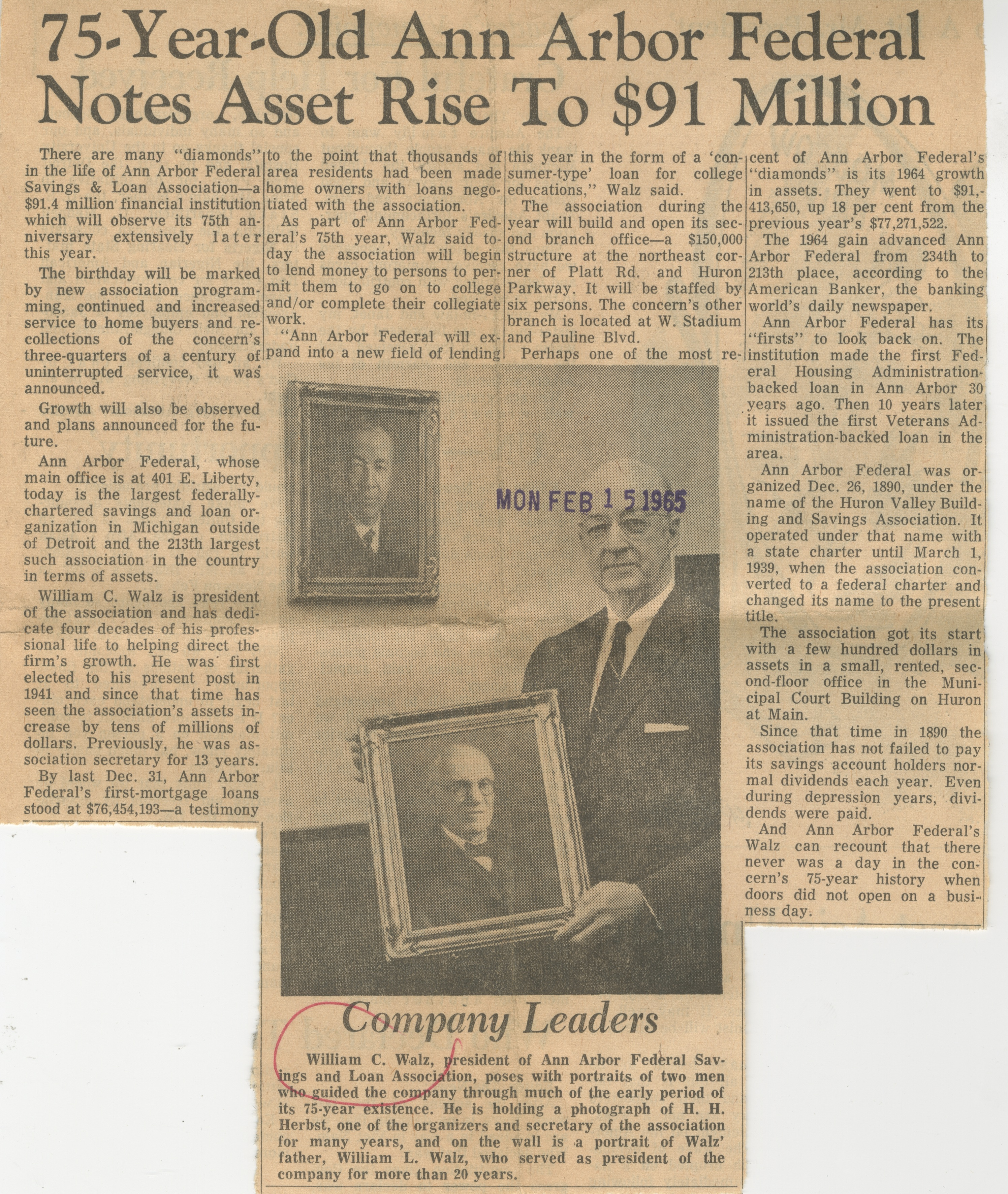 75-Year-Old Ann Arbor Federal Notes Asset Rise To $91 Million image