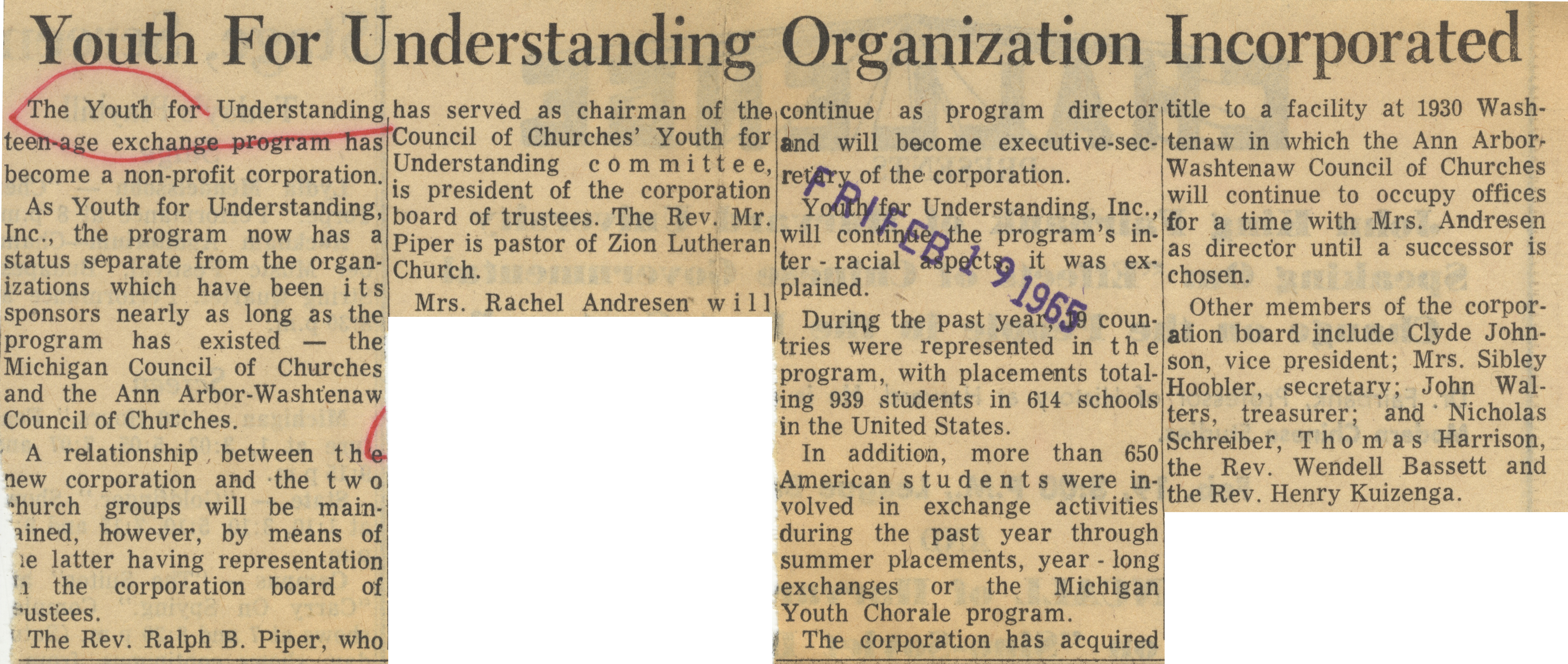 Youth For Understanding Organization Incorporated image